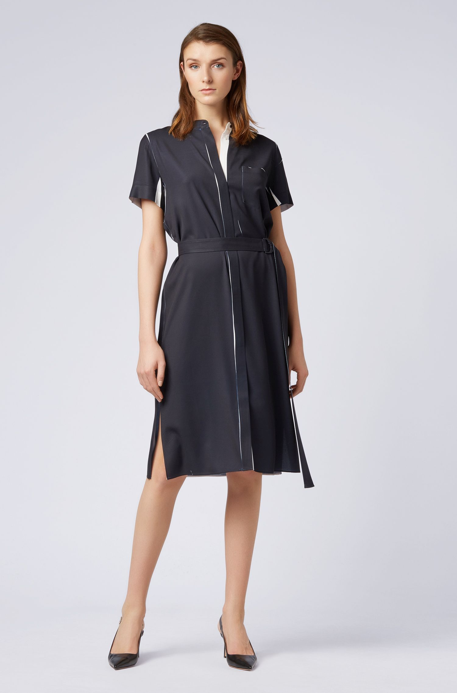 Fitted shirt dress in fluid fabric with belted waist, Black