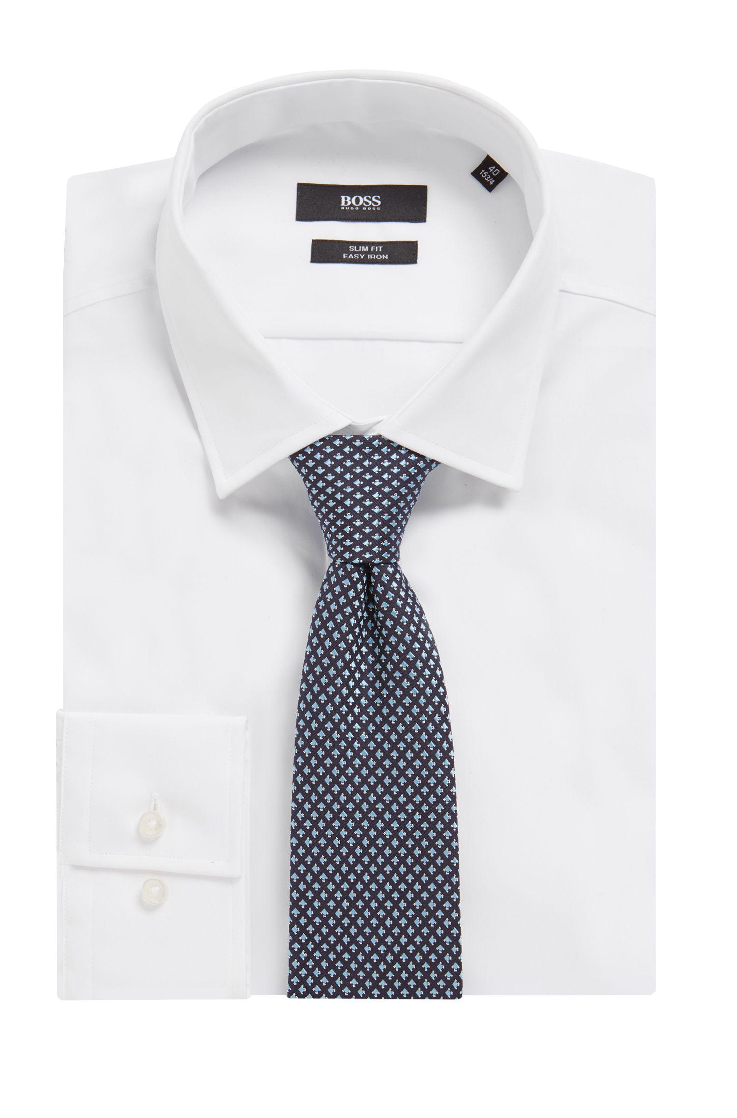 Italian-made tie in silk with geometric micro pattern, Open Blue