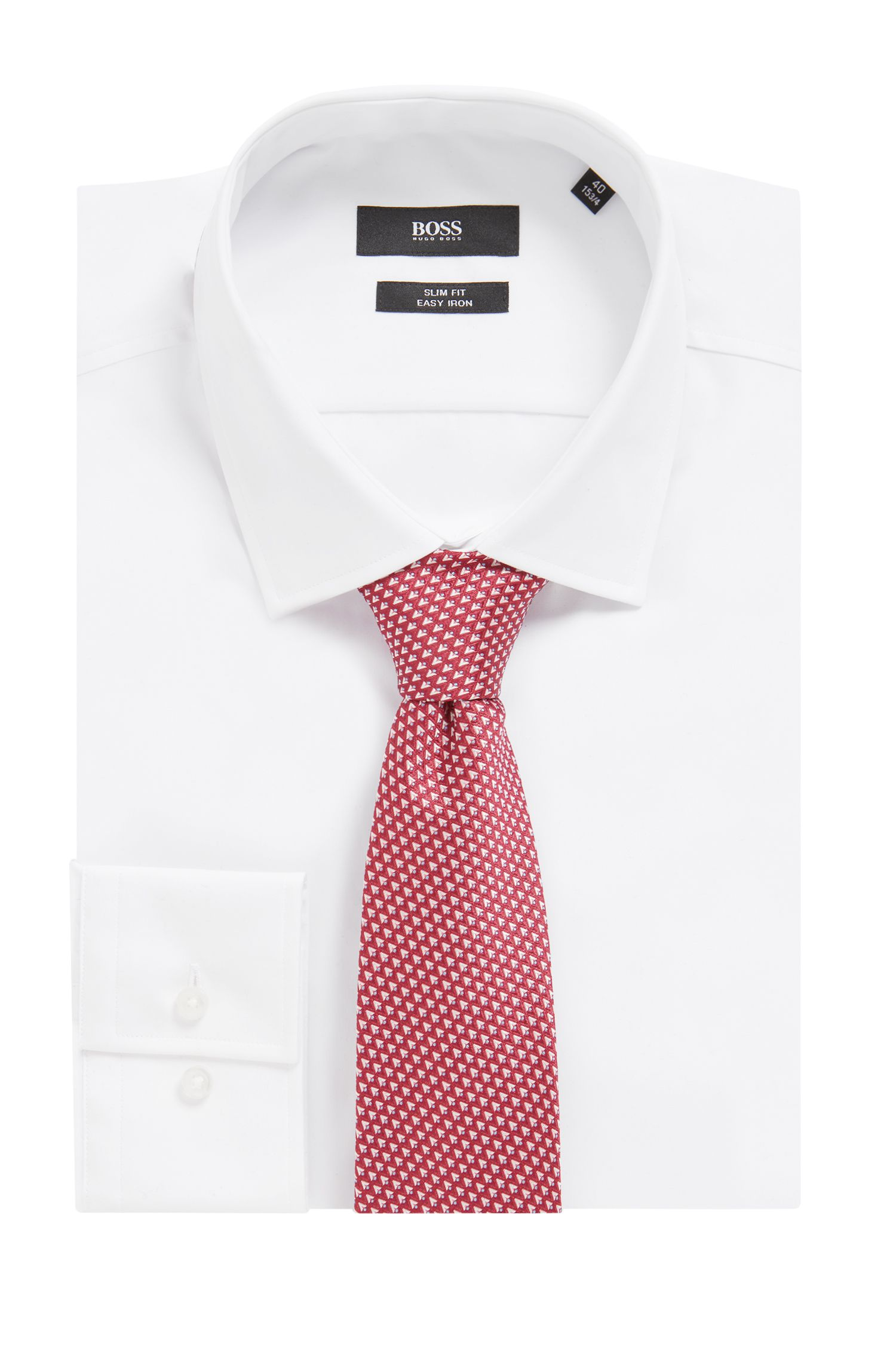Italian-made patterned tie in silk jacquard, Pink