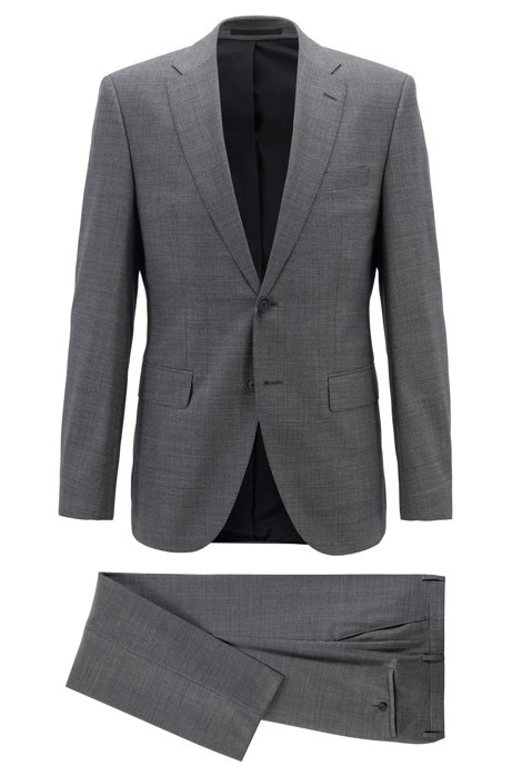 Regular-fit suit in micro-patterned virgin wool, Grey