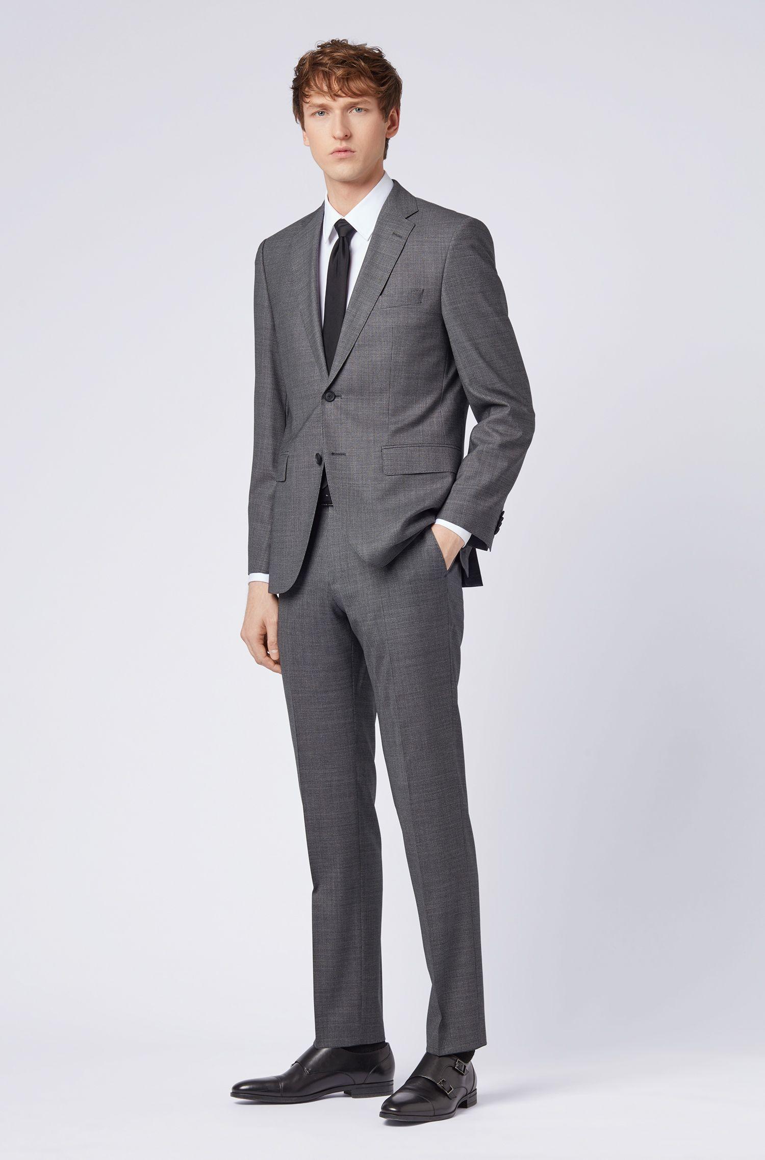 Regular-fit suit in micro-patterned virgin wool, Grey