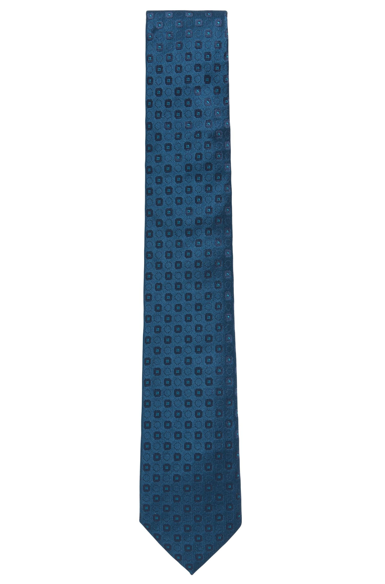 Patterned silk tie made in Italy, Open Blue