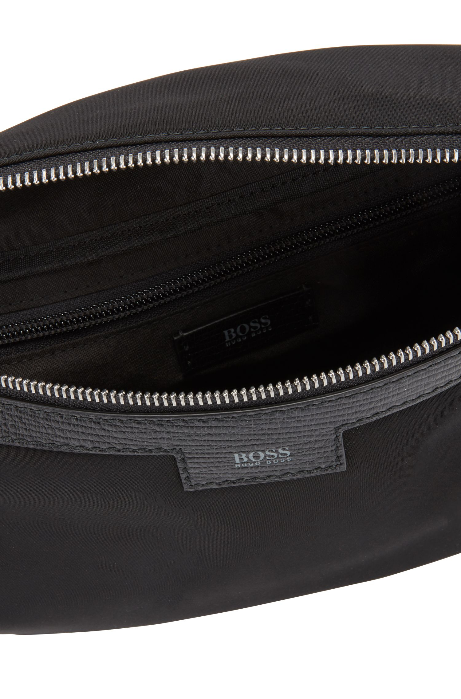 Belt bag with trims in printed Italian leather, Black