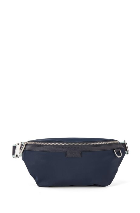 Belt bag with trims in printed Italian leather, Dark Blue