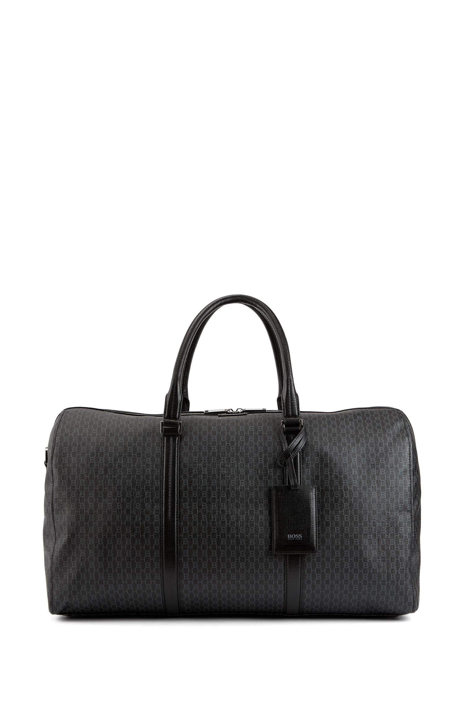 Monogram-printed holdall in coated Italian fabric, Black
