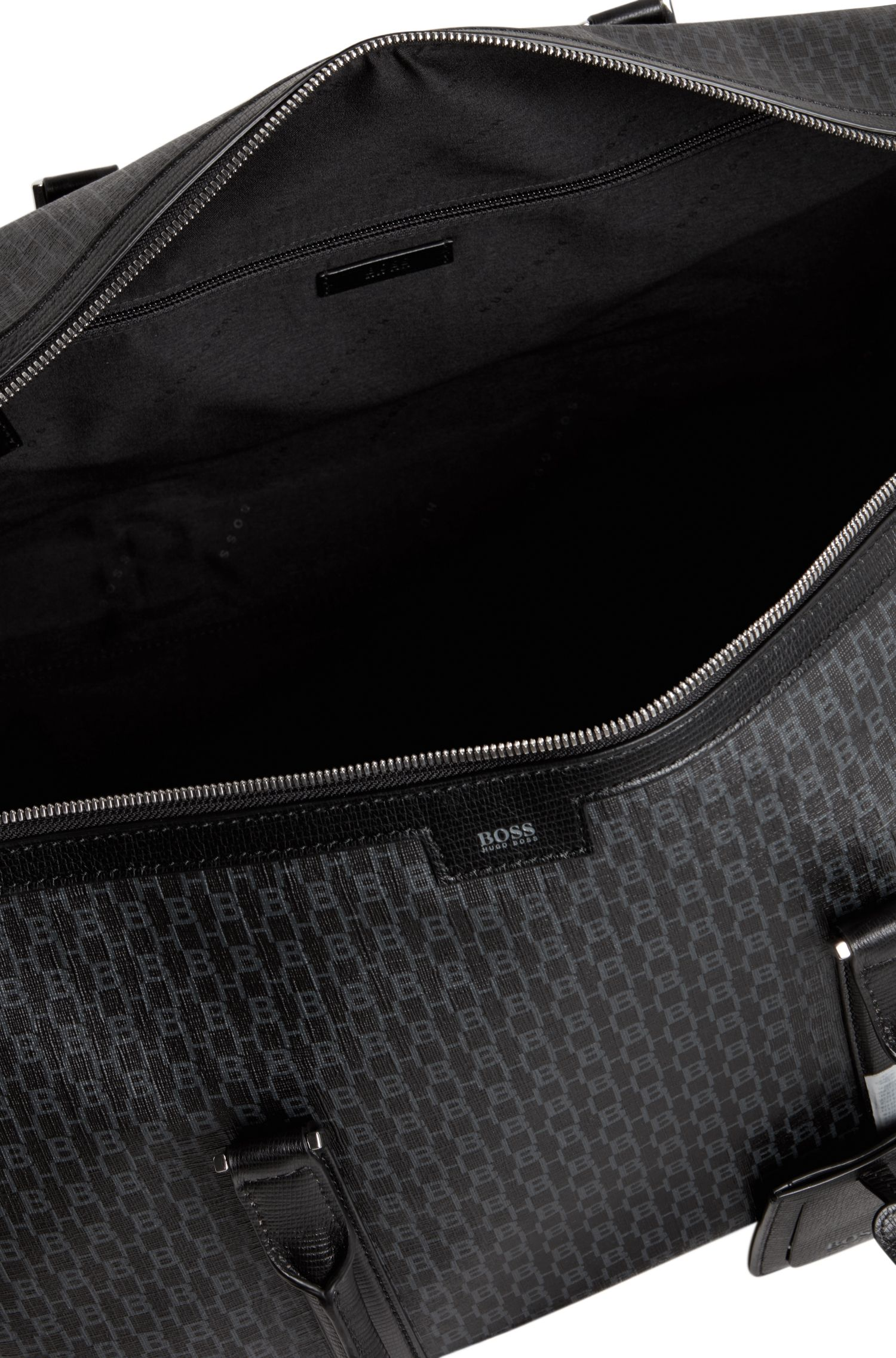 Monogram-printed holdall in coated Italian fabric, Black