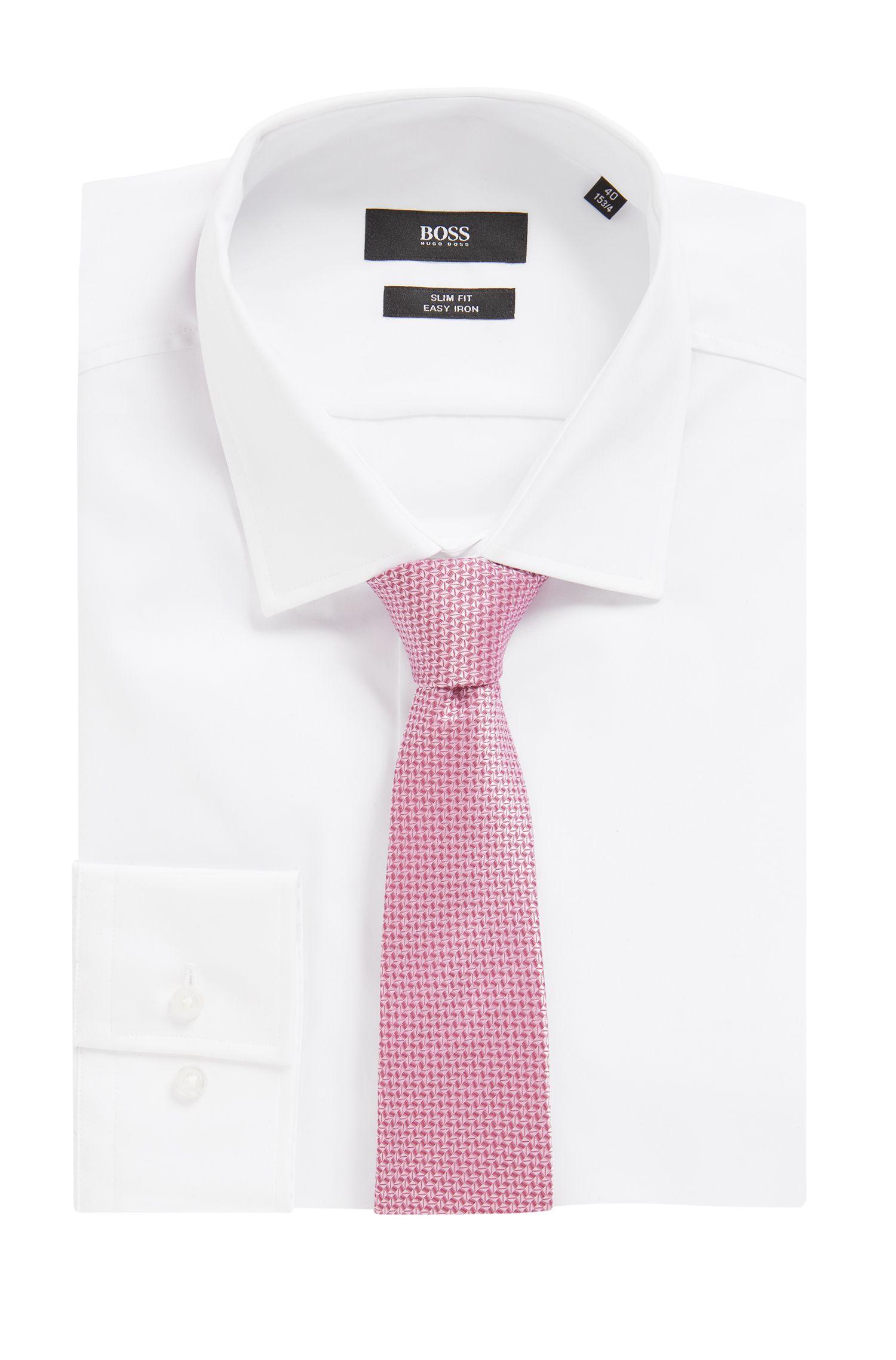 Micro-pattern tie in water-repellent silk, light pink