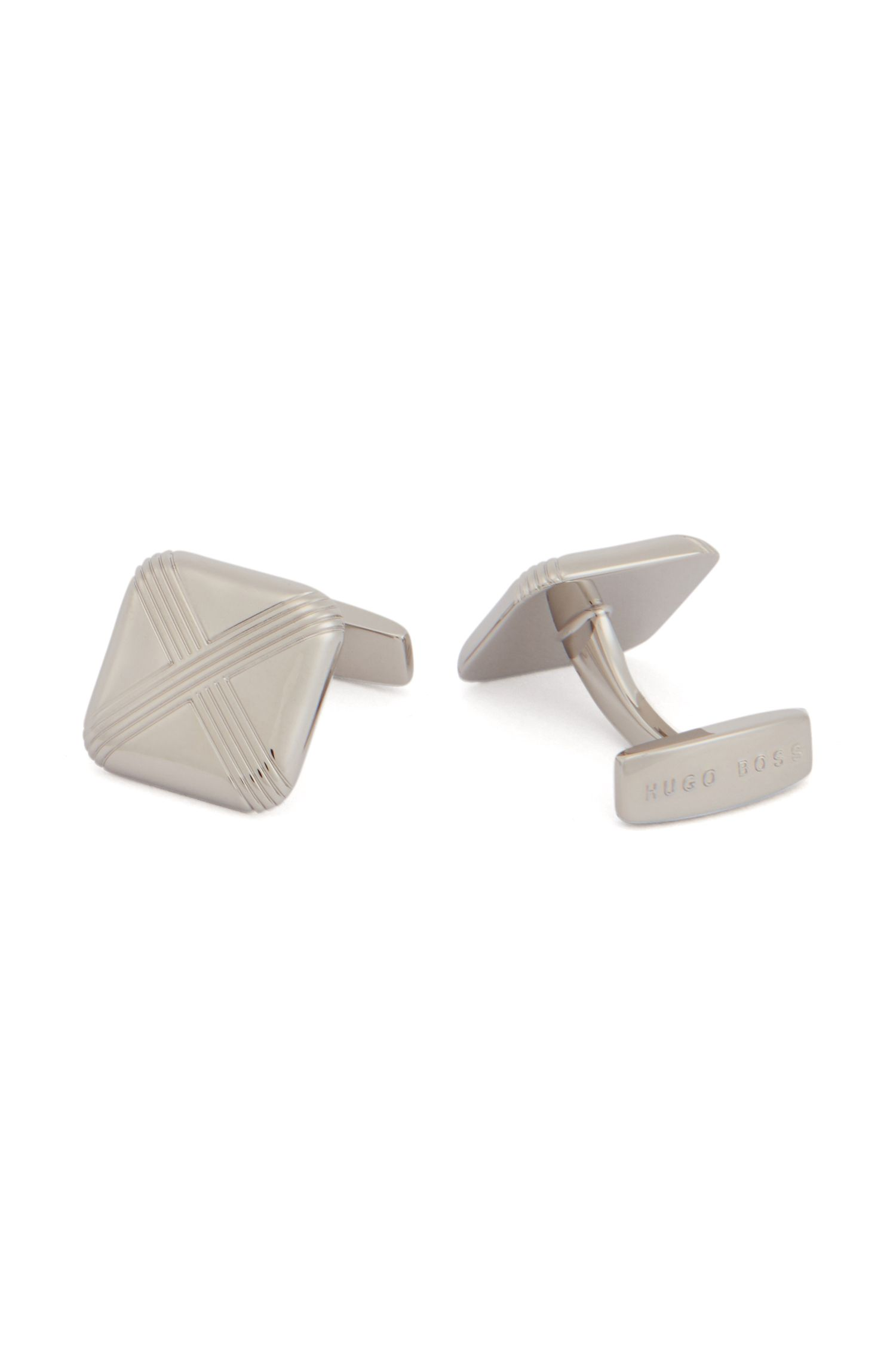 Square cufflinks with intersecting etched lines, Silver