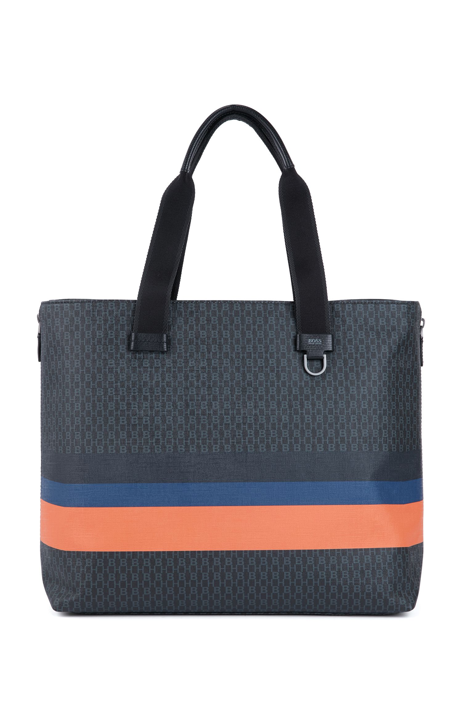 Tote bag with monogram print and colorblock stripes, Black
