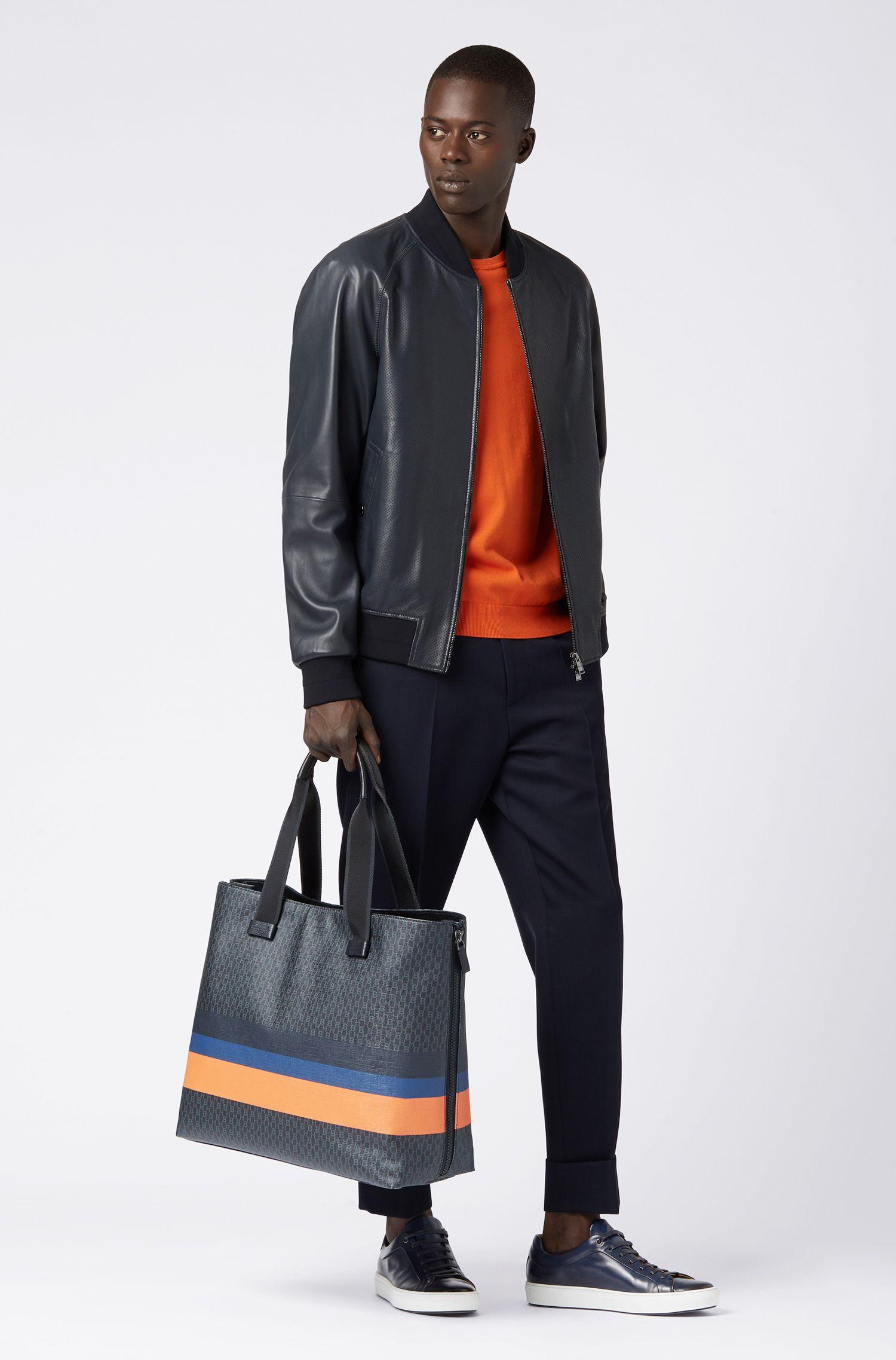 Tote bag with monogram print and colorblock stripes, Black