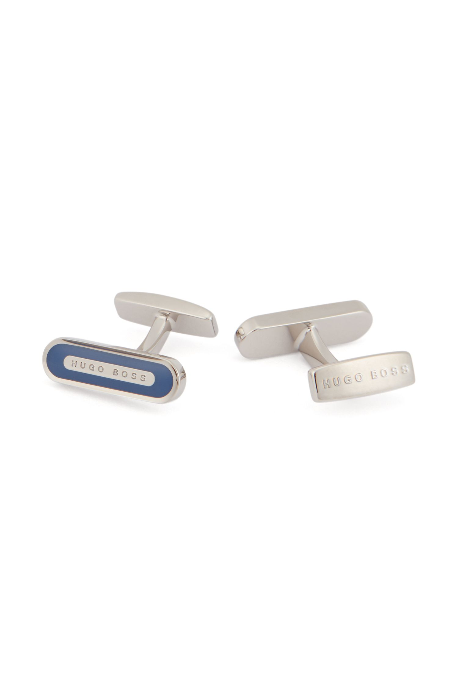Rounded rectangular cufflinks with enamel detail, Blue
