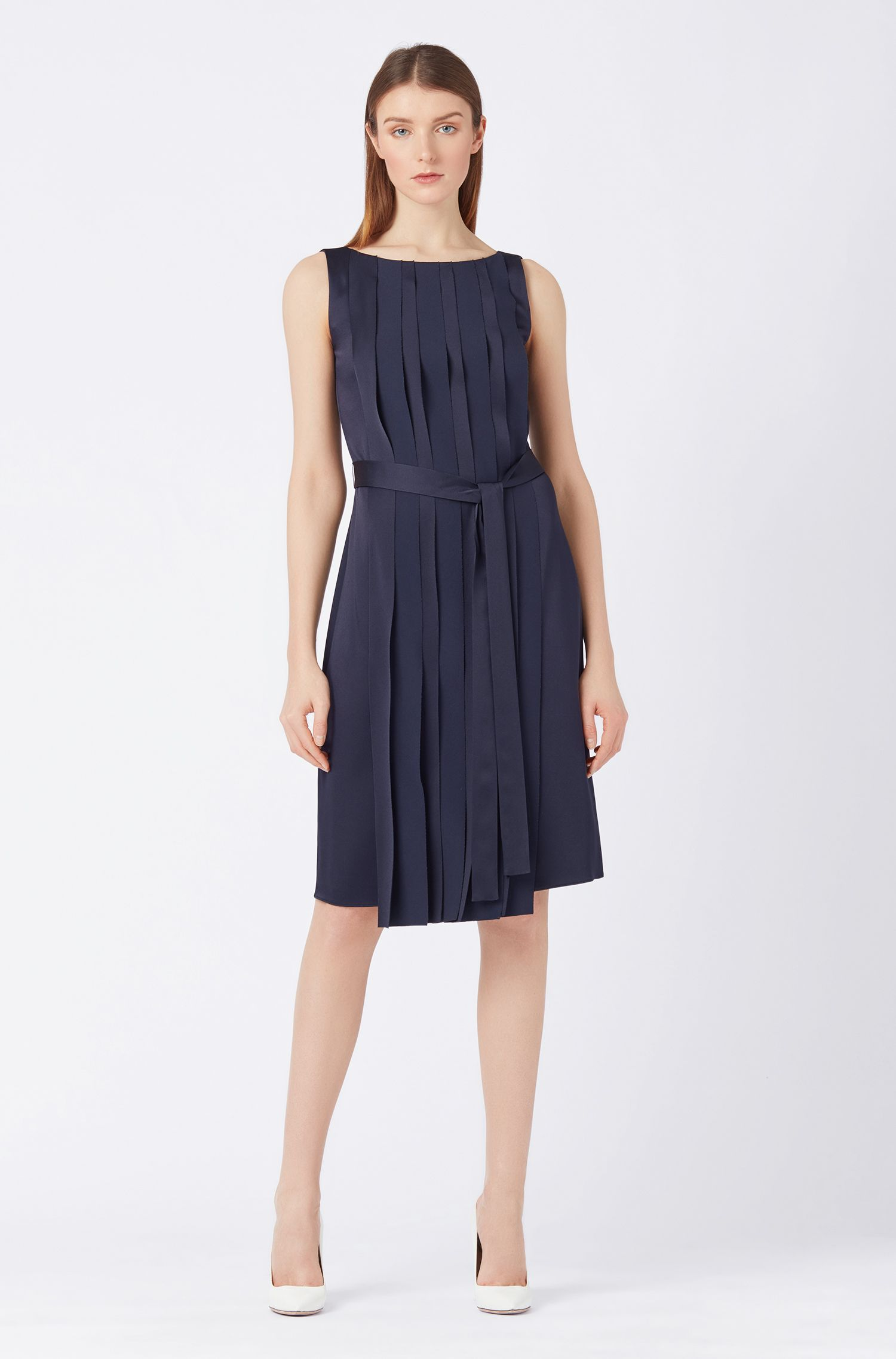 Sleeveless dress in Italian fabric with pleated front, Open Blue