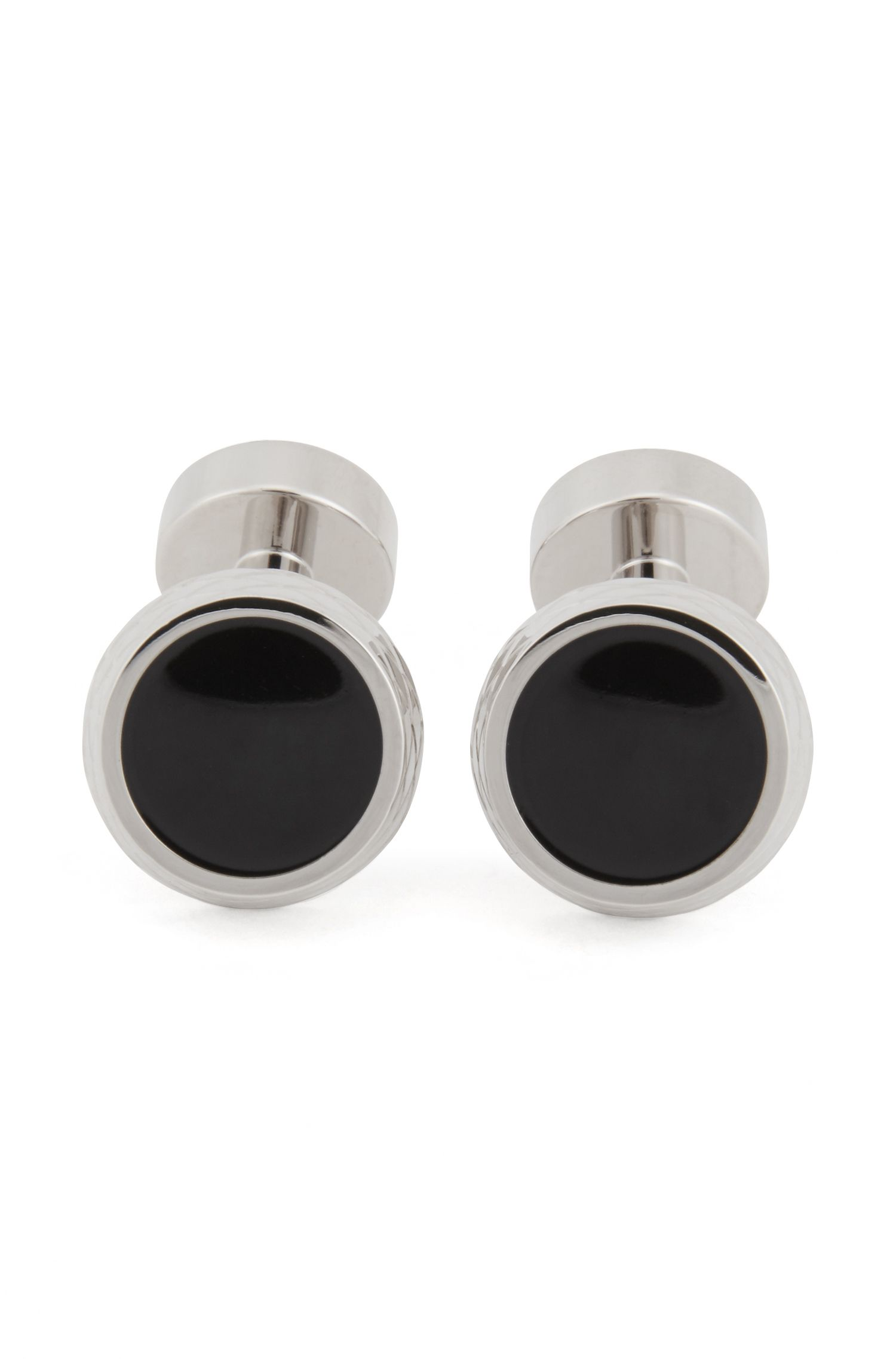 Round etched cufflinks with enamel core, Black