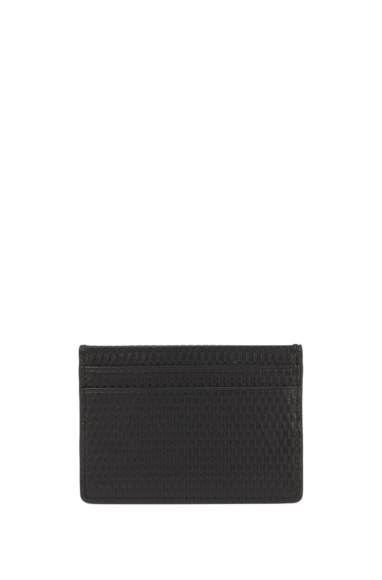 Italian-leather card holder with printed texture, Black