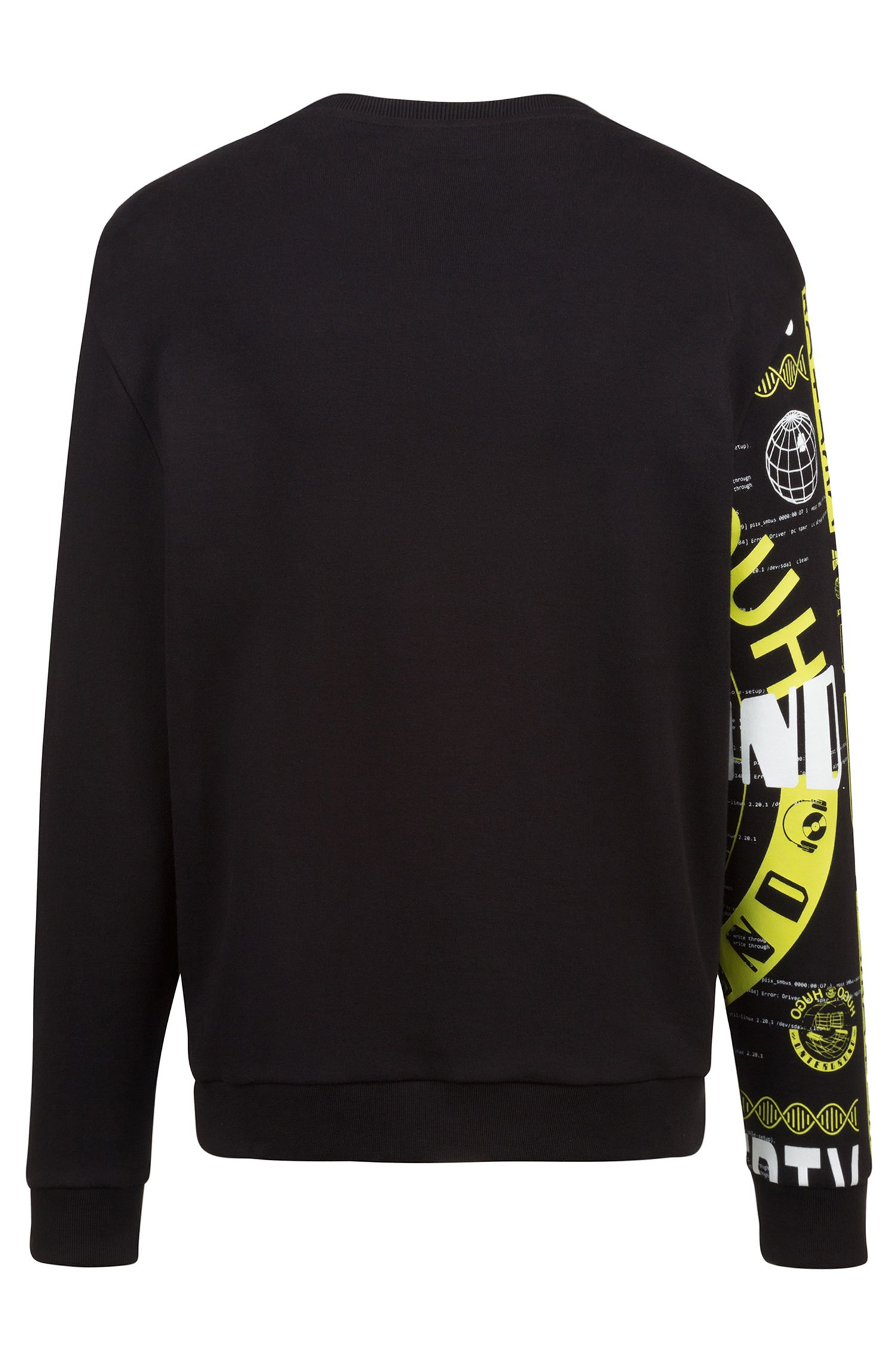 Relaxed-fit sweatshirt in interlock cotton with graphic print, Black