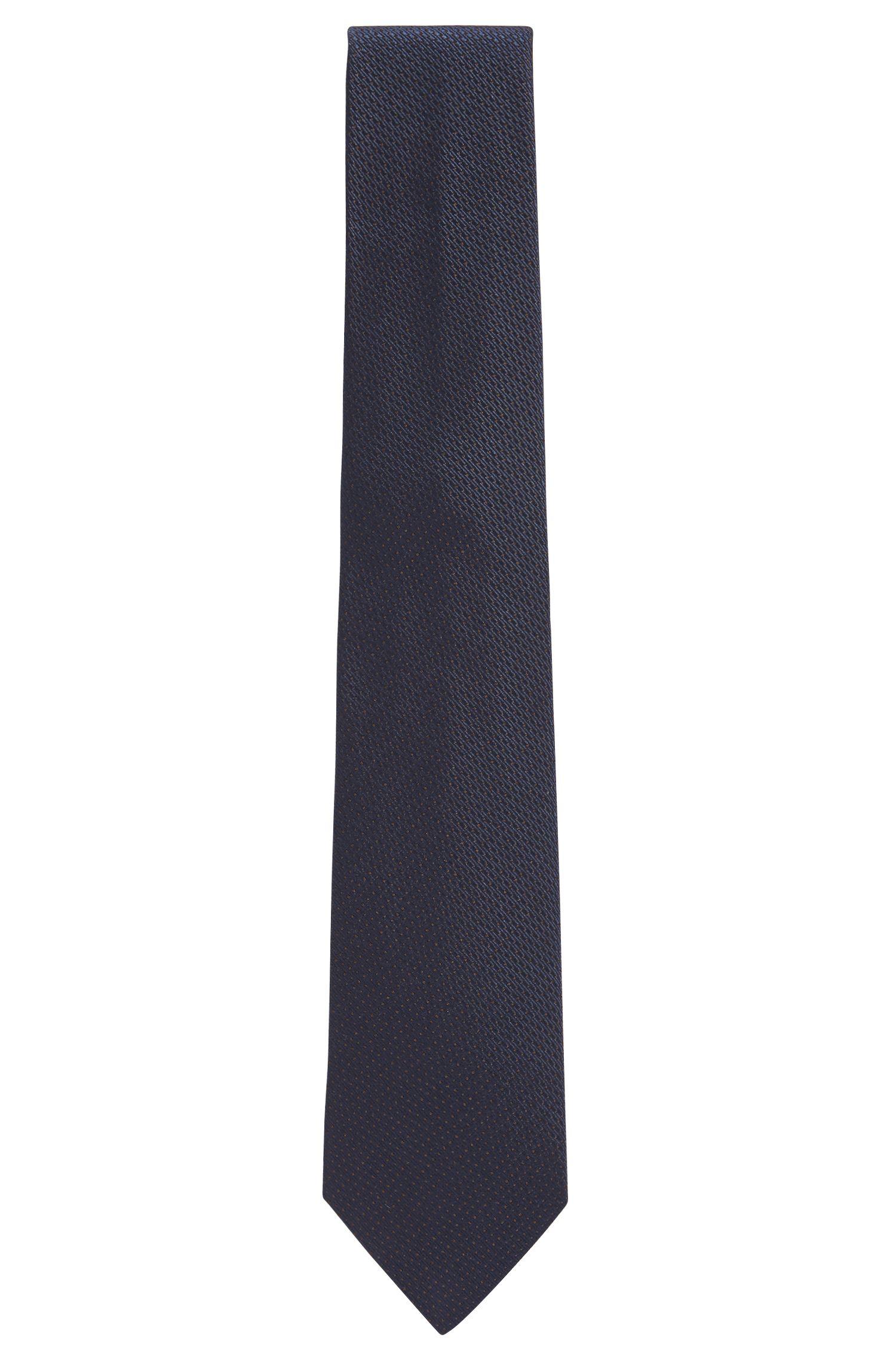 Italian-made silk tie with jacquard structure, Dark Blue