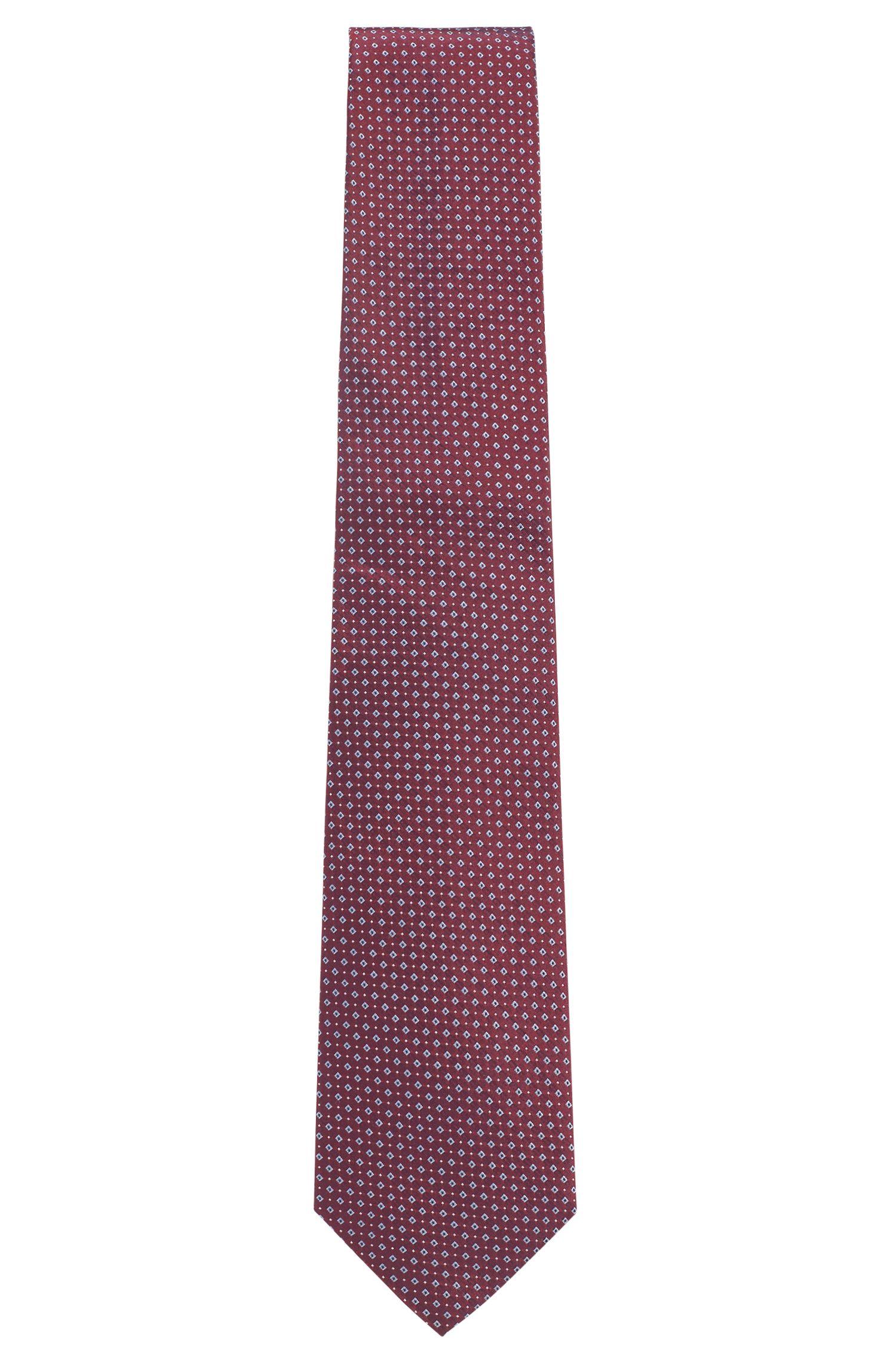 Italian-made silk tie with jacquard pattern, Pink