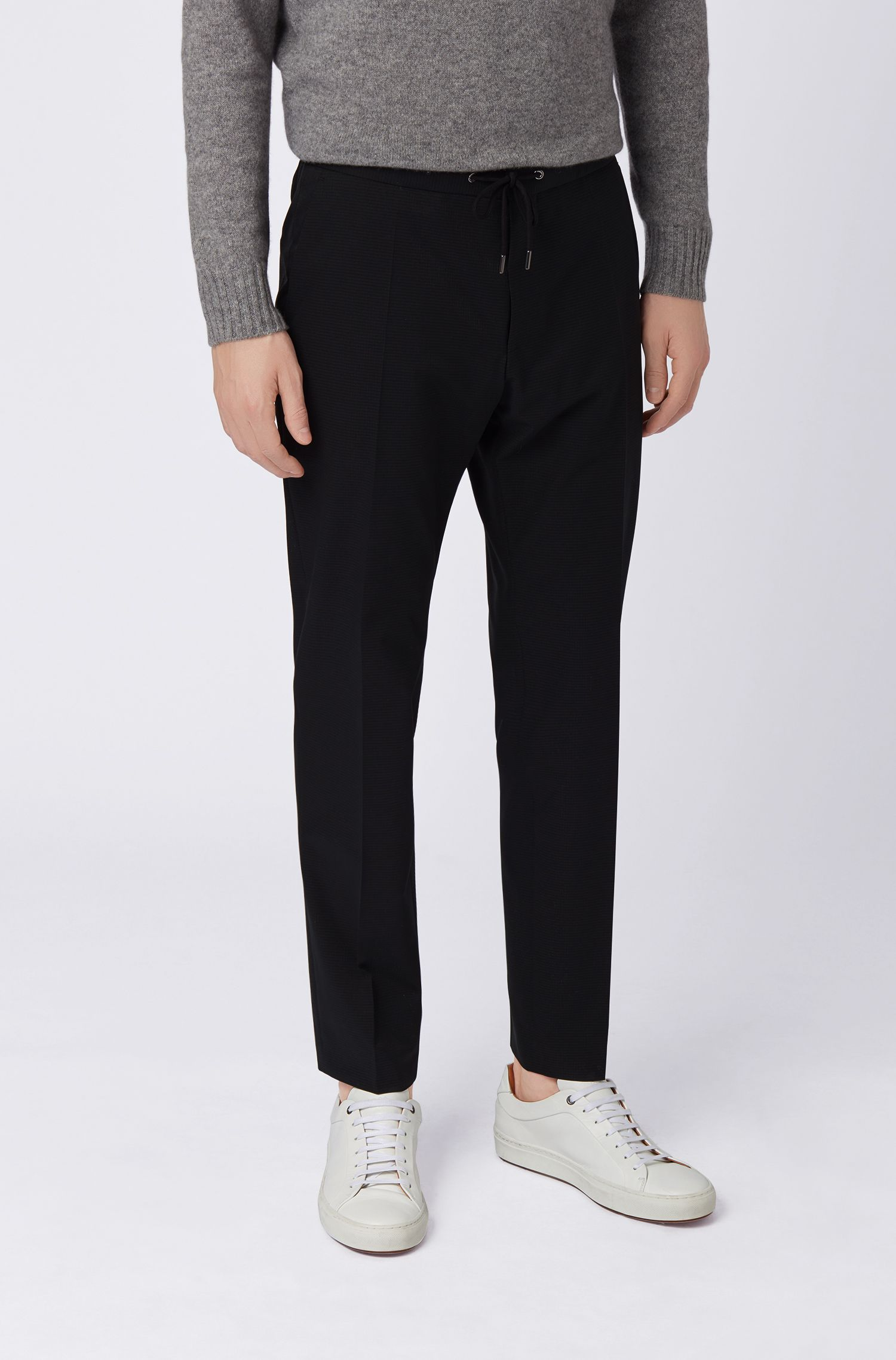 Cropped slim-fit pants with drawstring waistband, Black