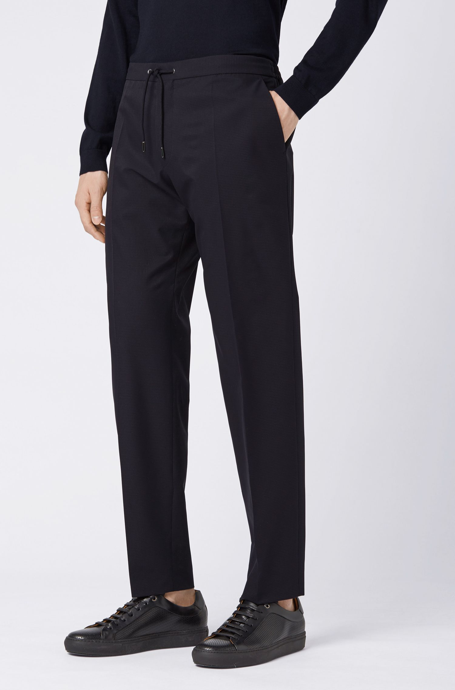 Cropped slim-fit trousers with drawstring waistband, Open Blue