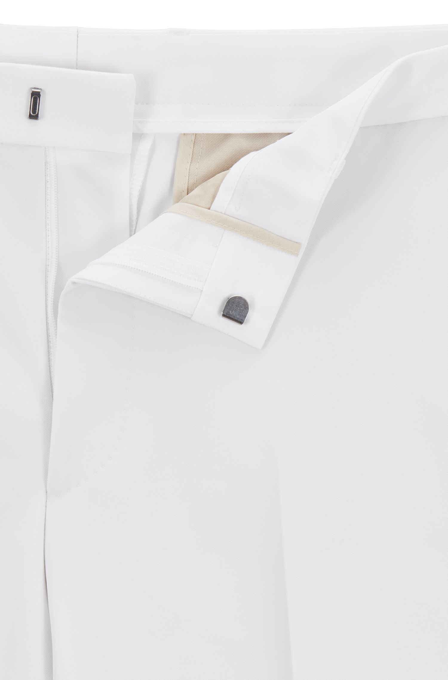 Slim-fit suit in stretch fabric, White