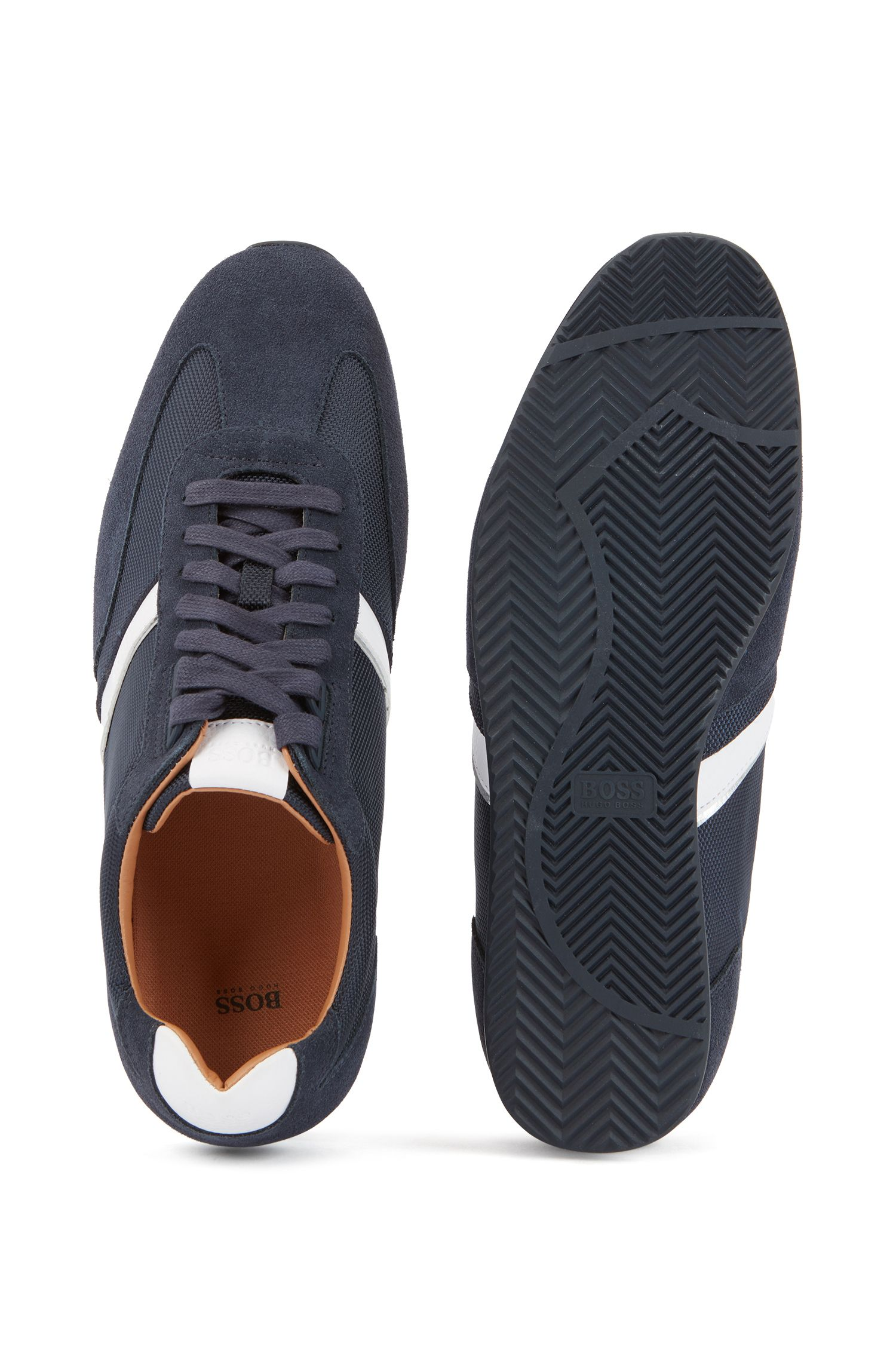 Low-profile hybrid sneakers with contrast leather stripe, Dark Blue
