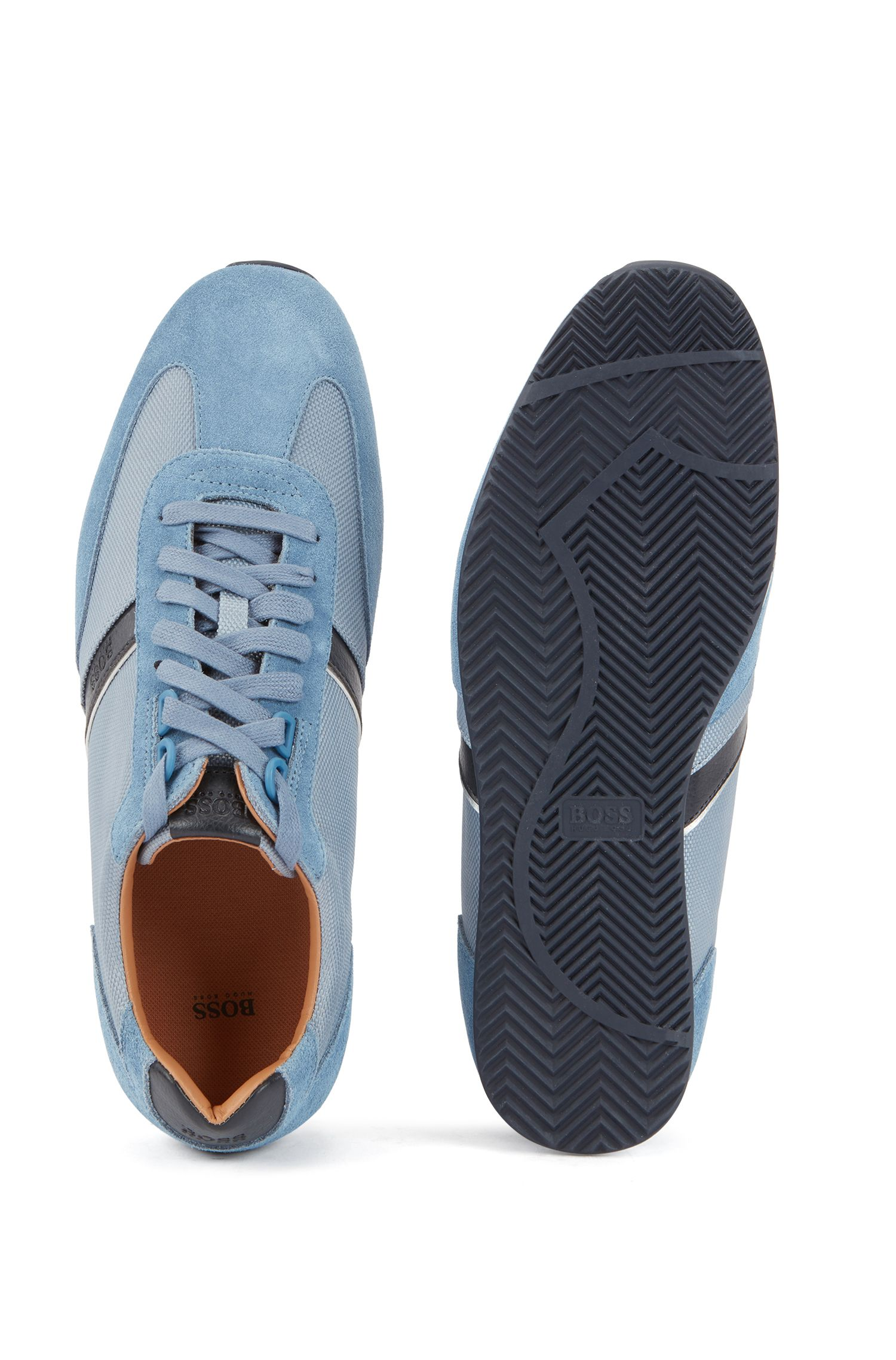 Low-profile hybrid sneakers with contrast leather stripe, Blue