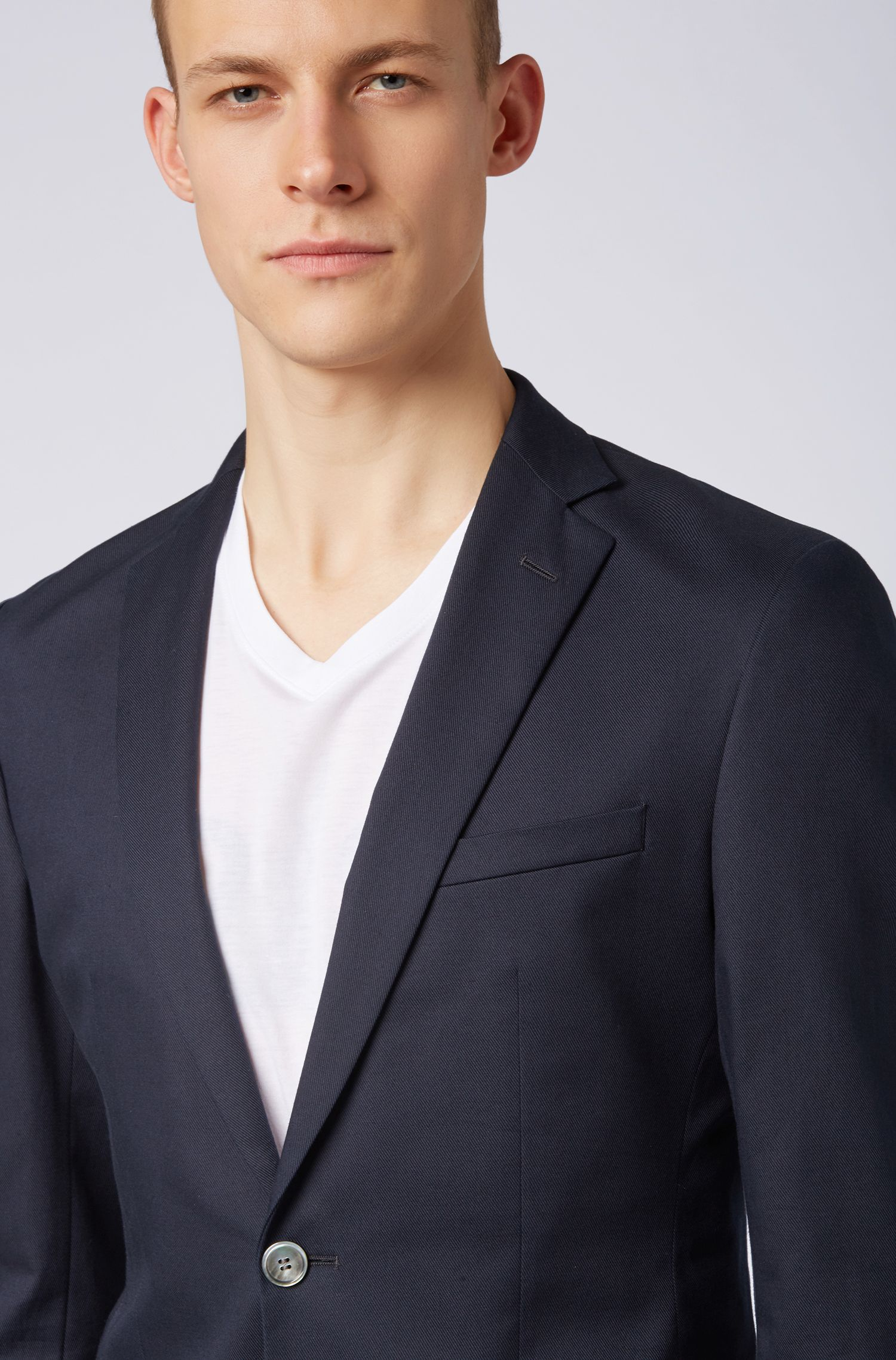 Extra-slim-fit jacket in stretch cotton, Open Blue