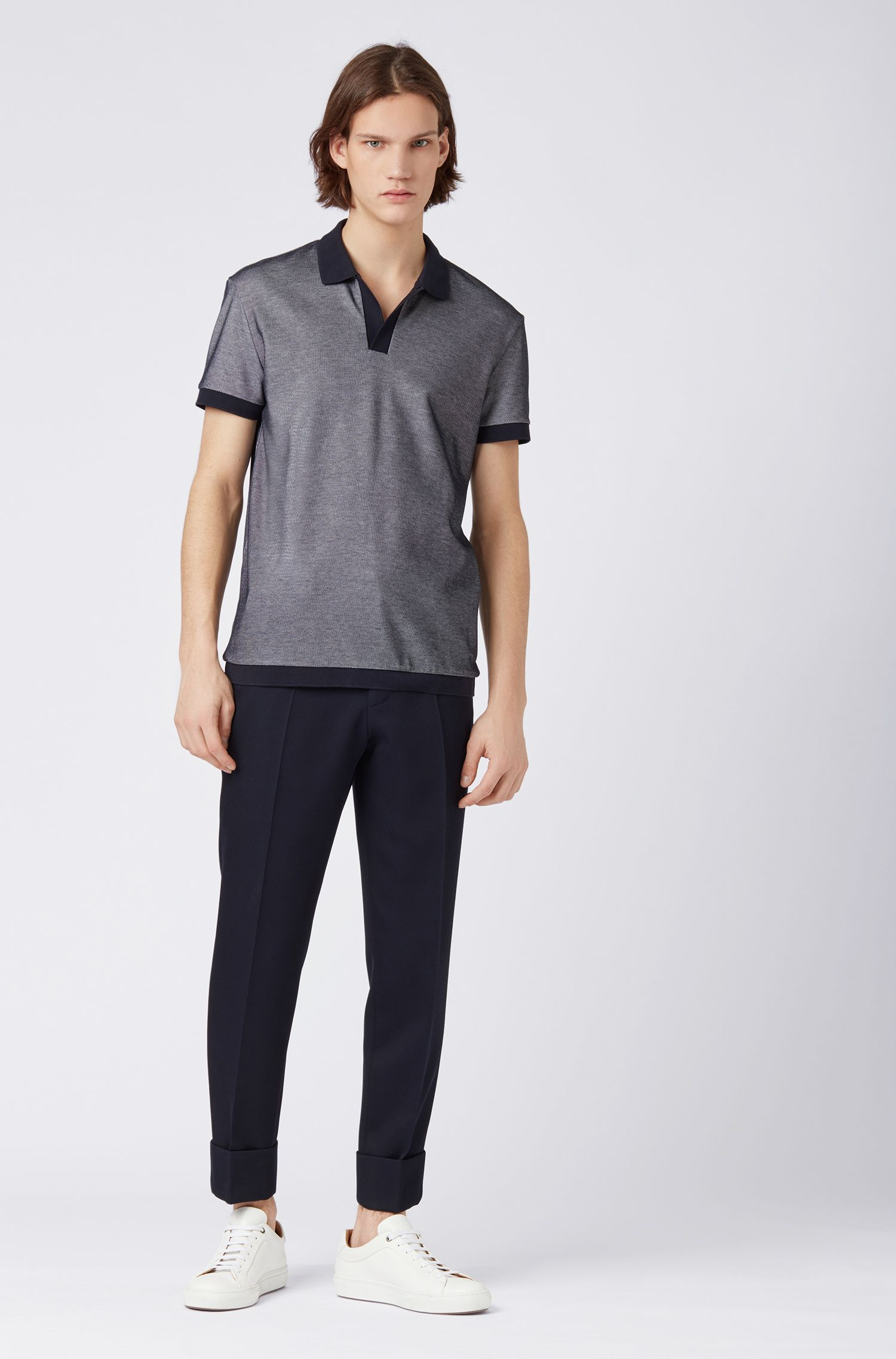 Polo shirt in two-tone cotton with open placket, Dark Blue