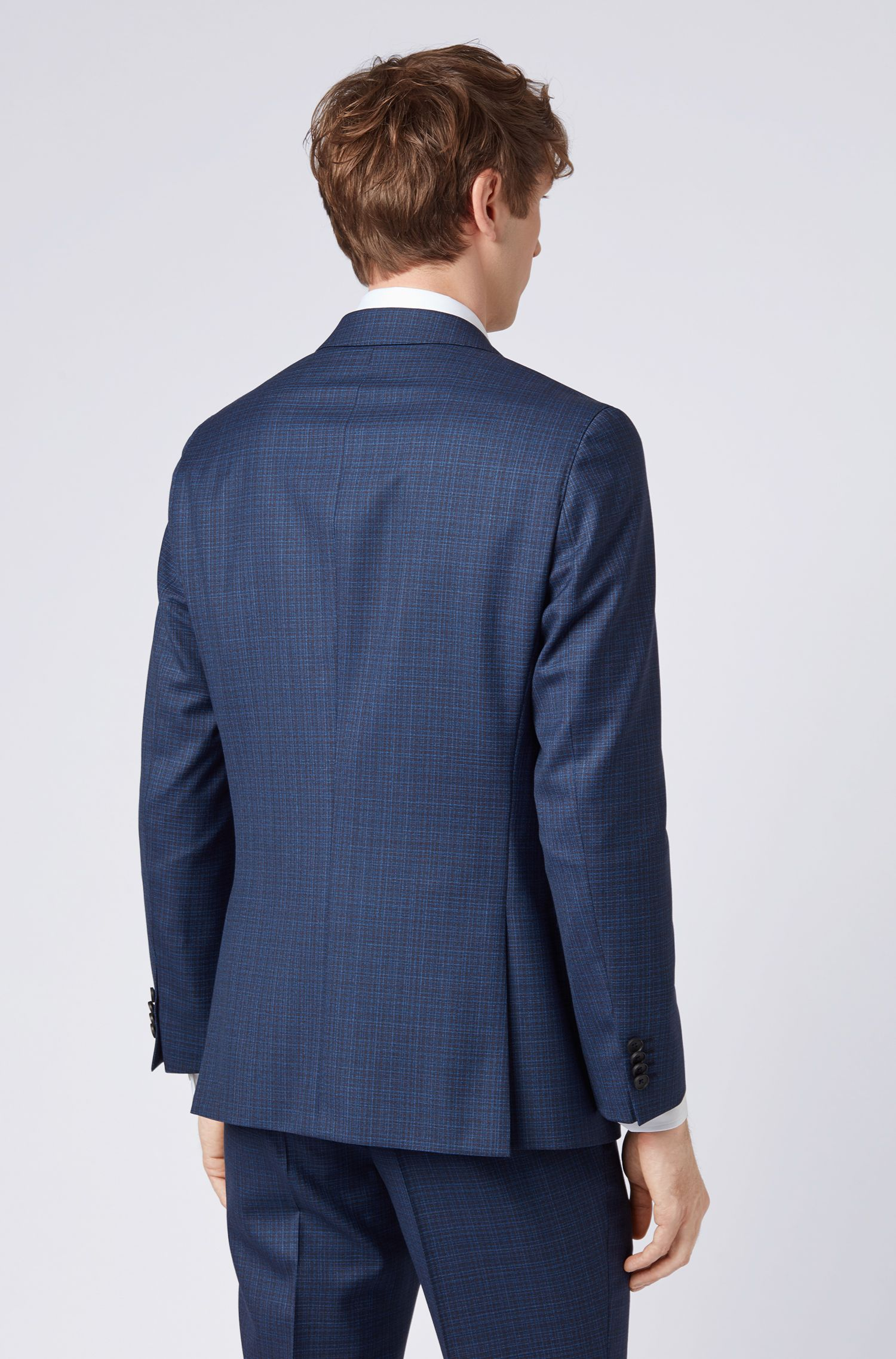 Slim-fit suit in patterned virgin wool, Open Blue