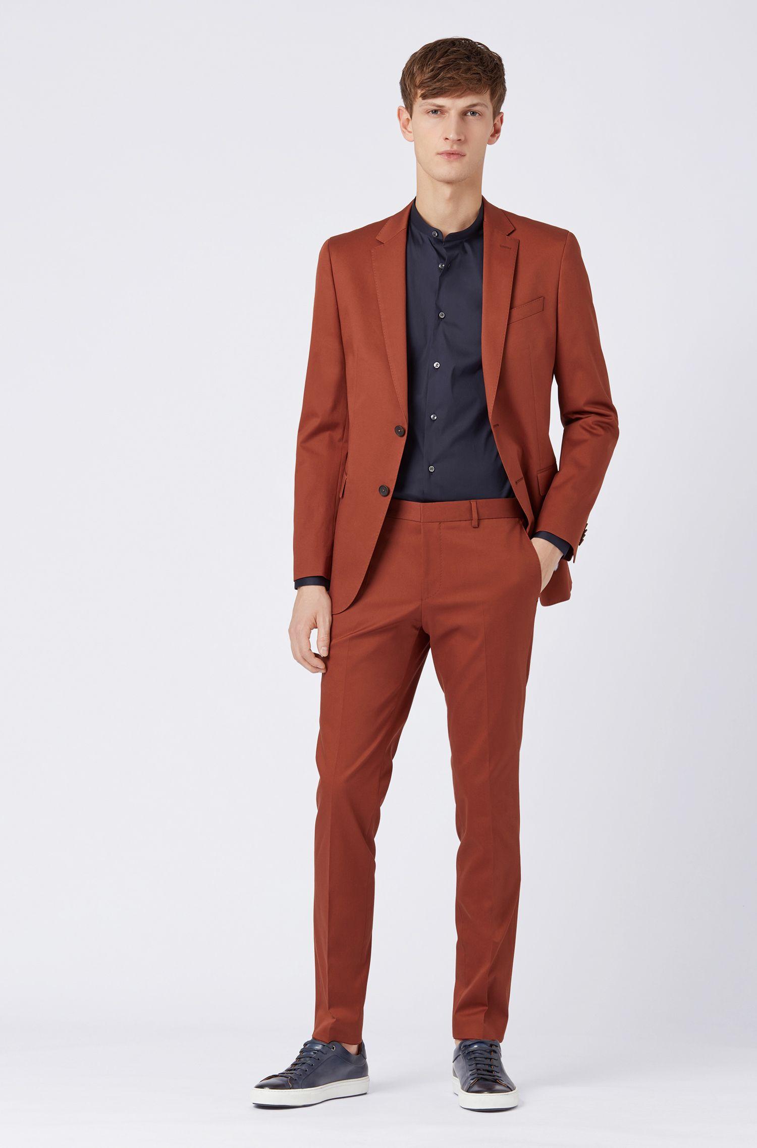 Slim-fit suit in stretch-cotton gabardine, Brown