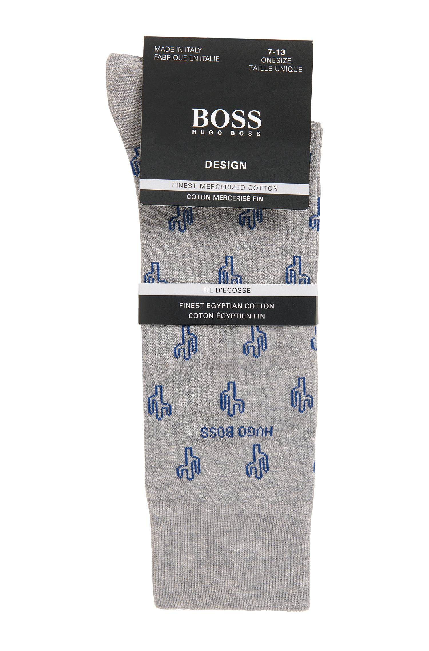 Italian-made regular-length socks with cactus motif, Silver
