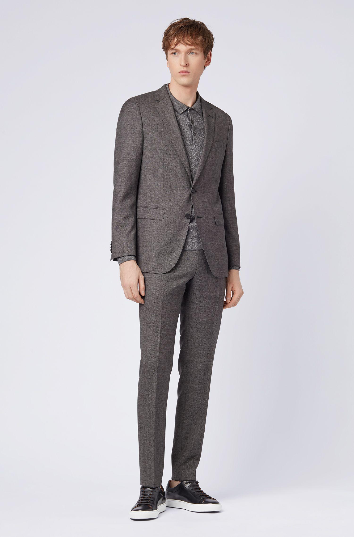 Slim-fit suit in micro-pattern virgin wool twill, Dark Grey