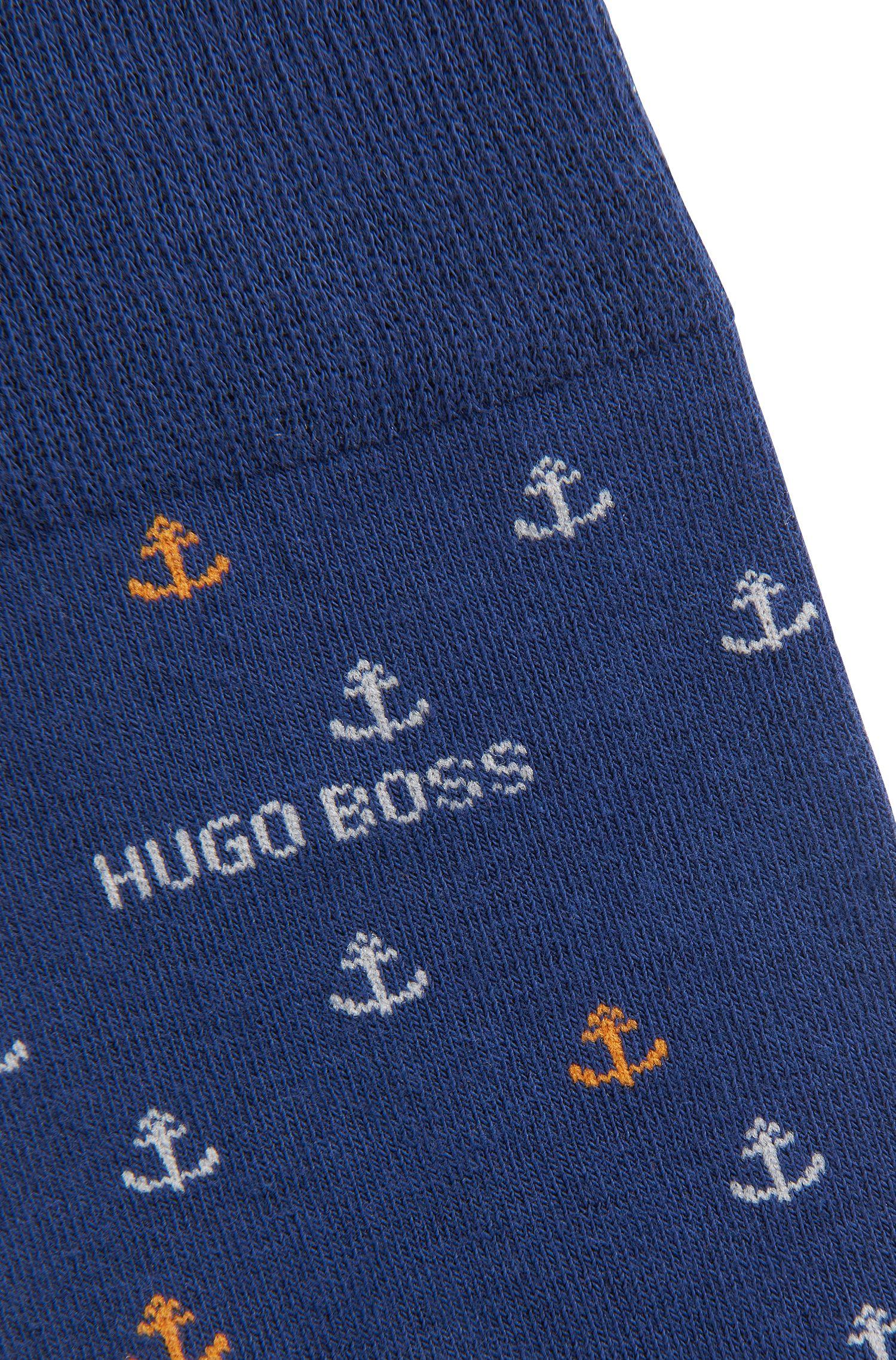 Regular-length socks with stripes and anchor motifs, Dark Blue