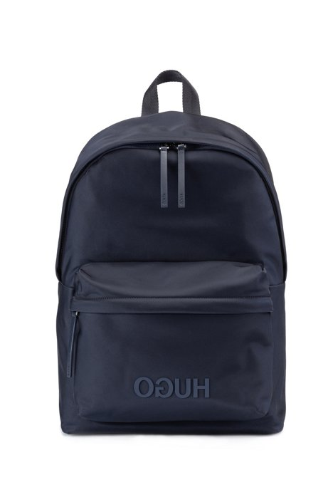 Reverse-logo backpack in structured nylon with top handle, Dark Blue