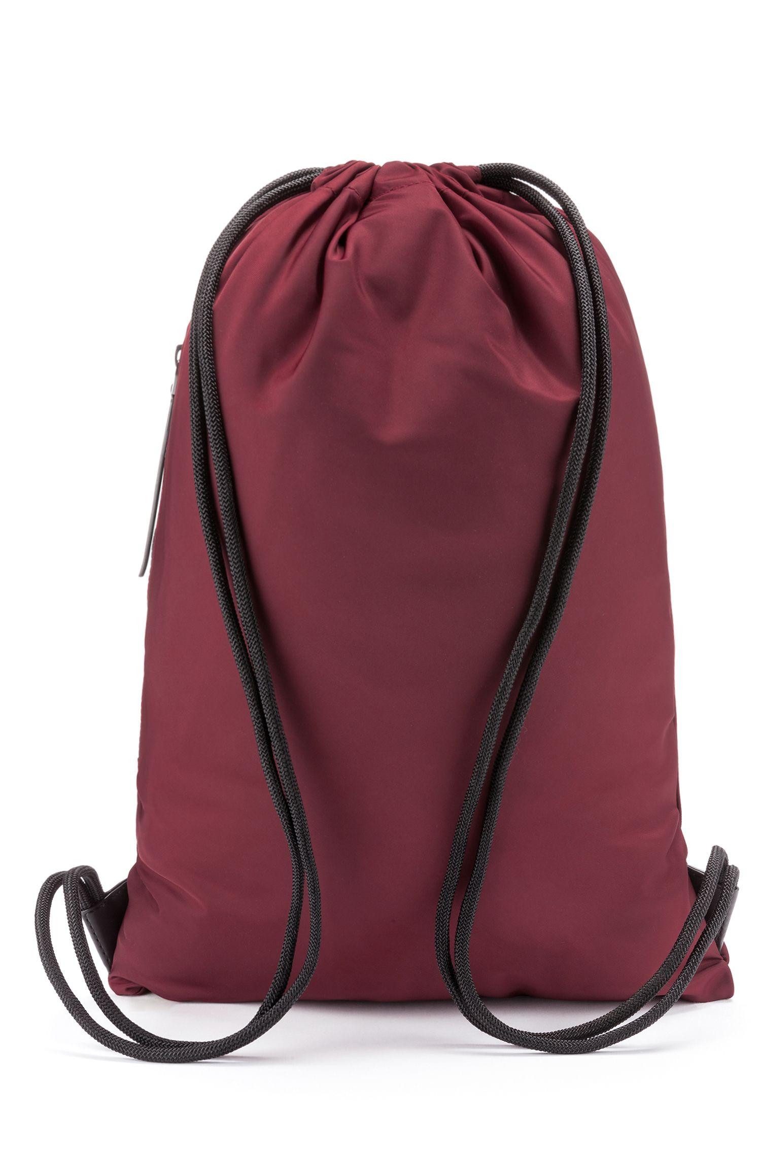 Drawstring backpack in nylon gabardine with reverse-logo print, Dark Red