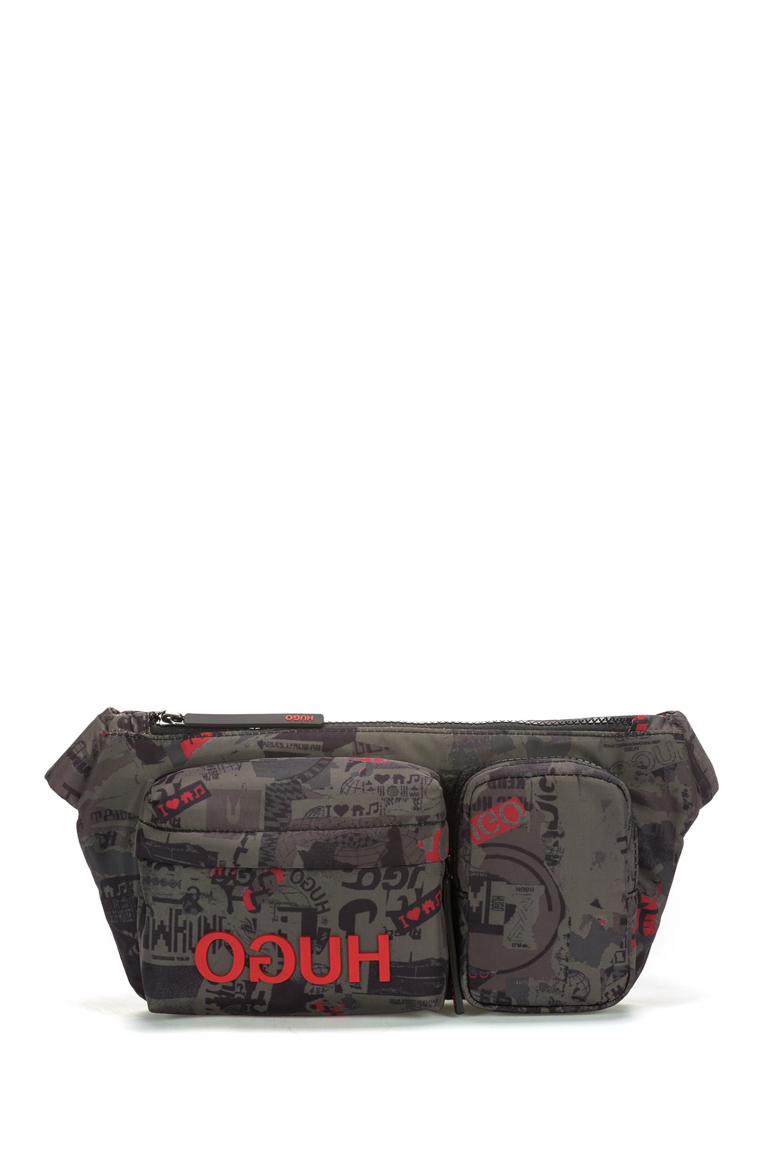 Multi-pocket belt bag in nylon with graphic print, Patterned