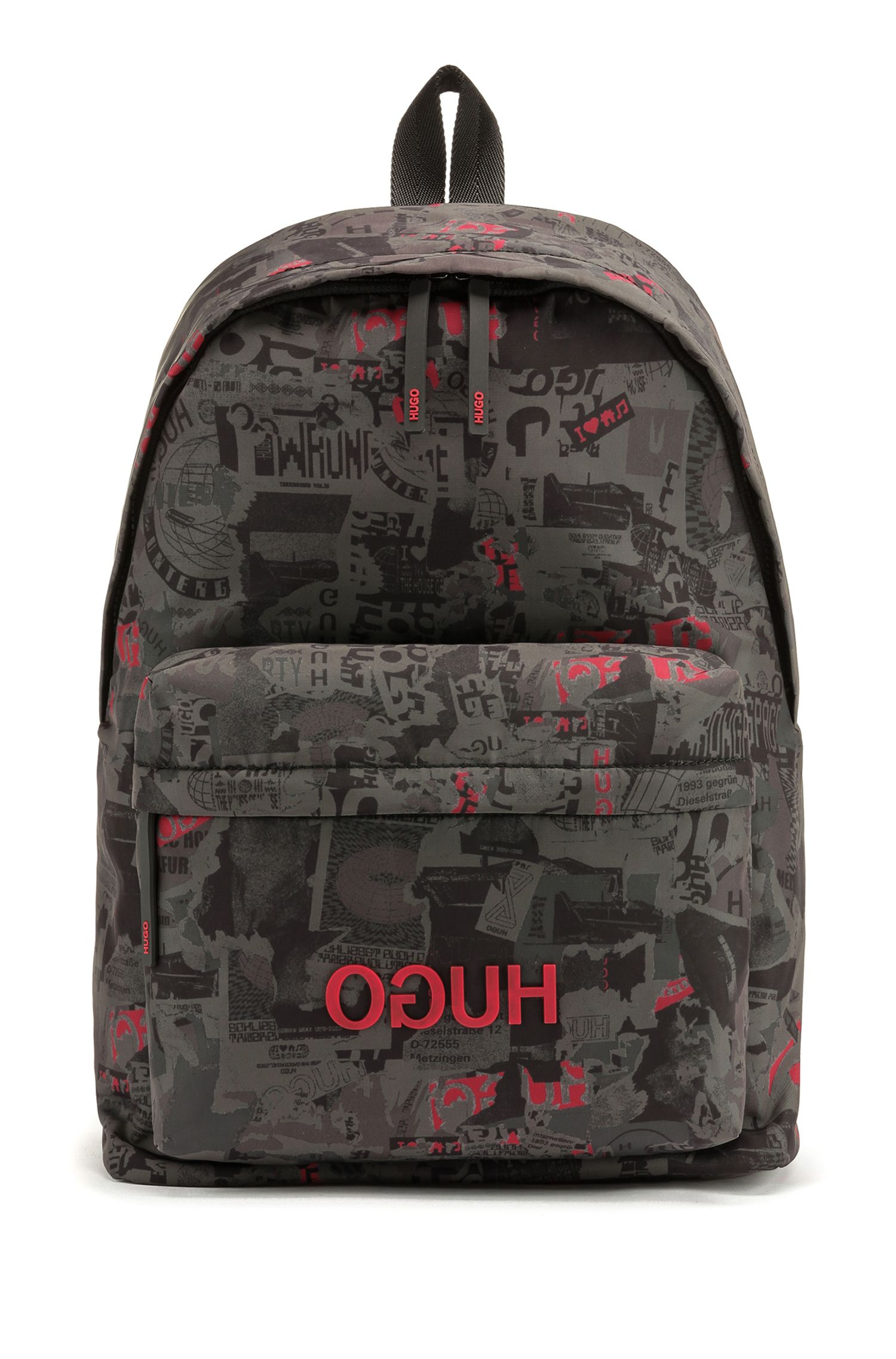 Graphic-print backpack in structured nylon, Patterned