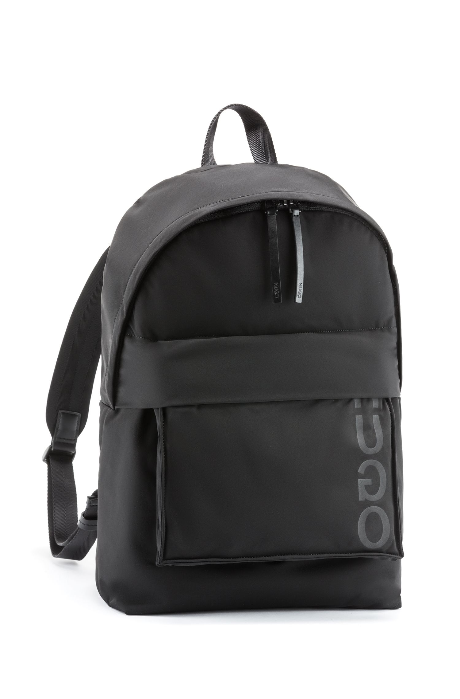 Two-in-one backpack in nylon with detachable pocket, Black