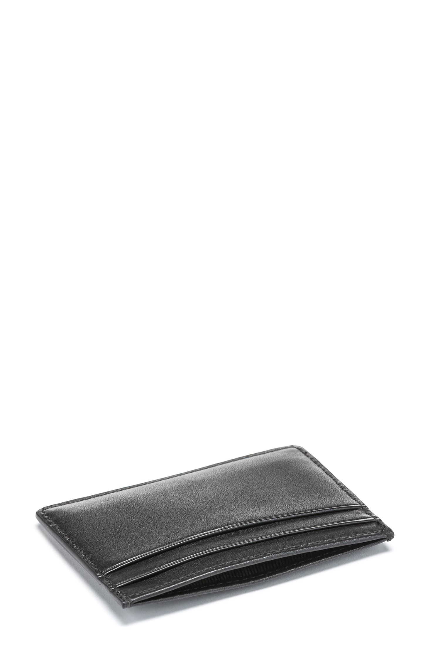 Gift-boxed leather card case and brass money clip, Black