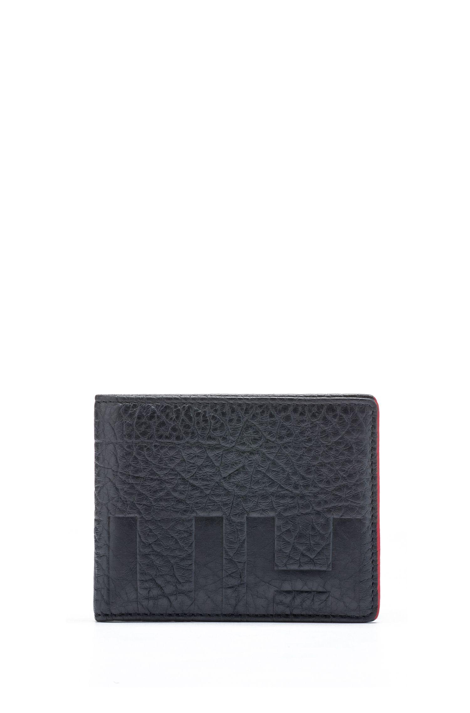 Reverse-logo billfold wallet in buffalo-embossed leather, Dark Blue