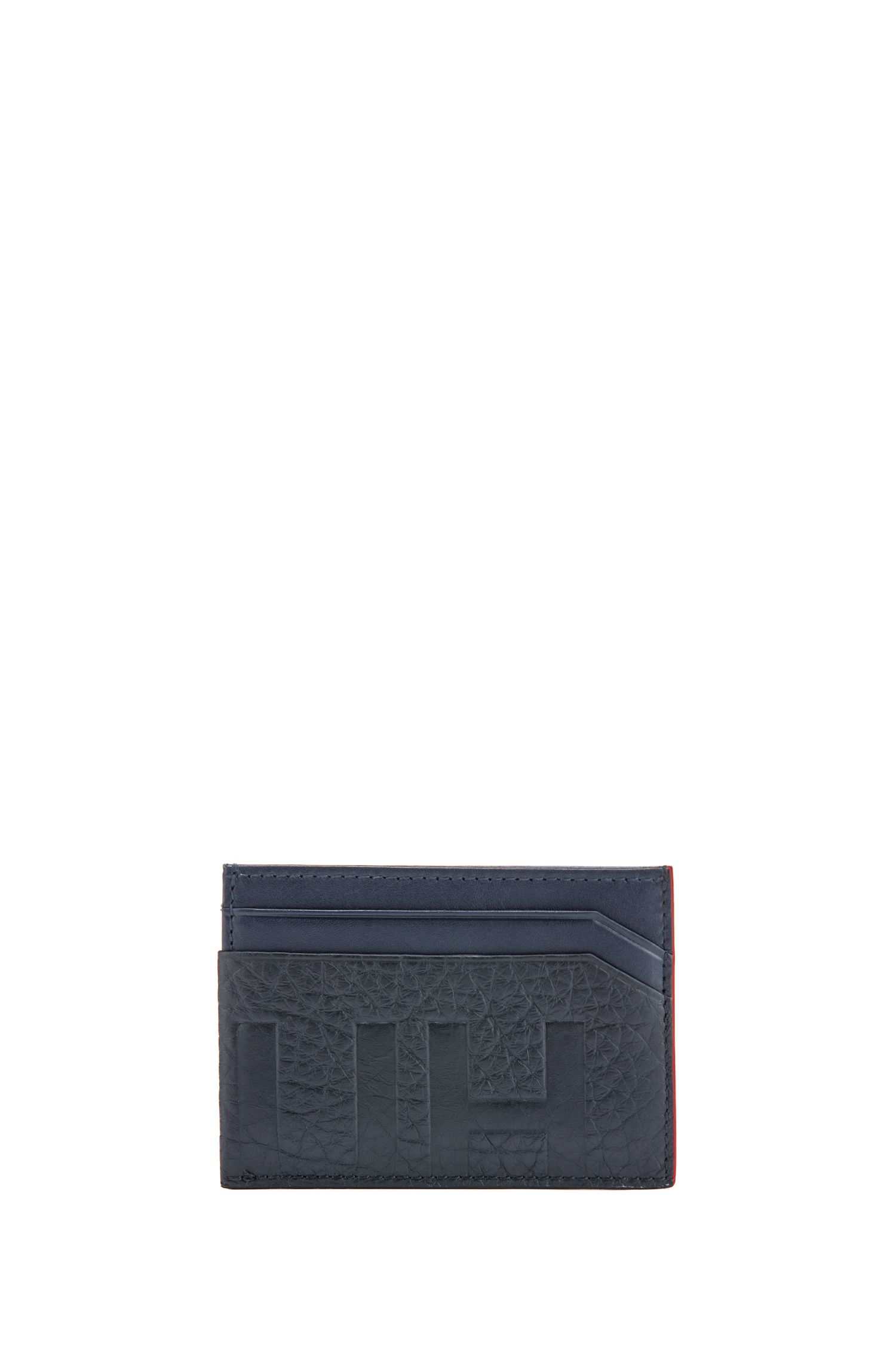 Reversed-logo card holder in buffalo-embossed leather, Dark Blue