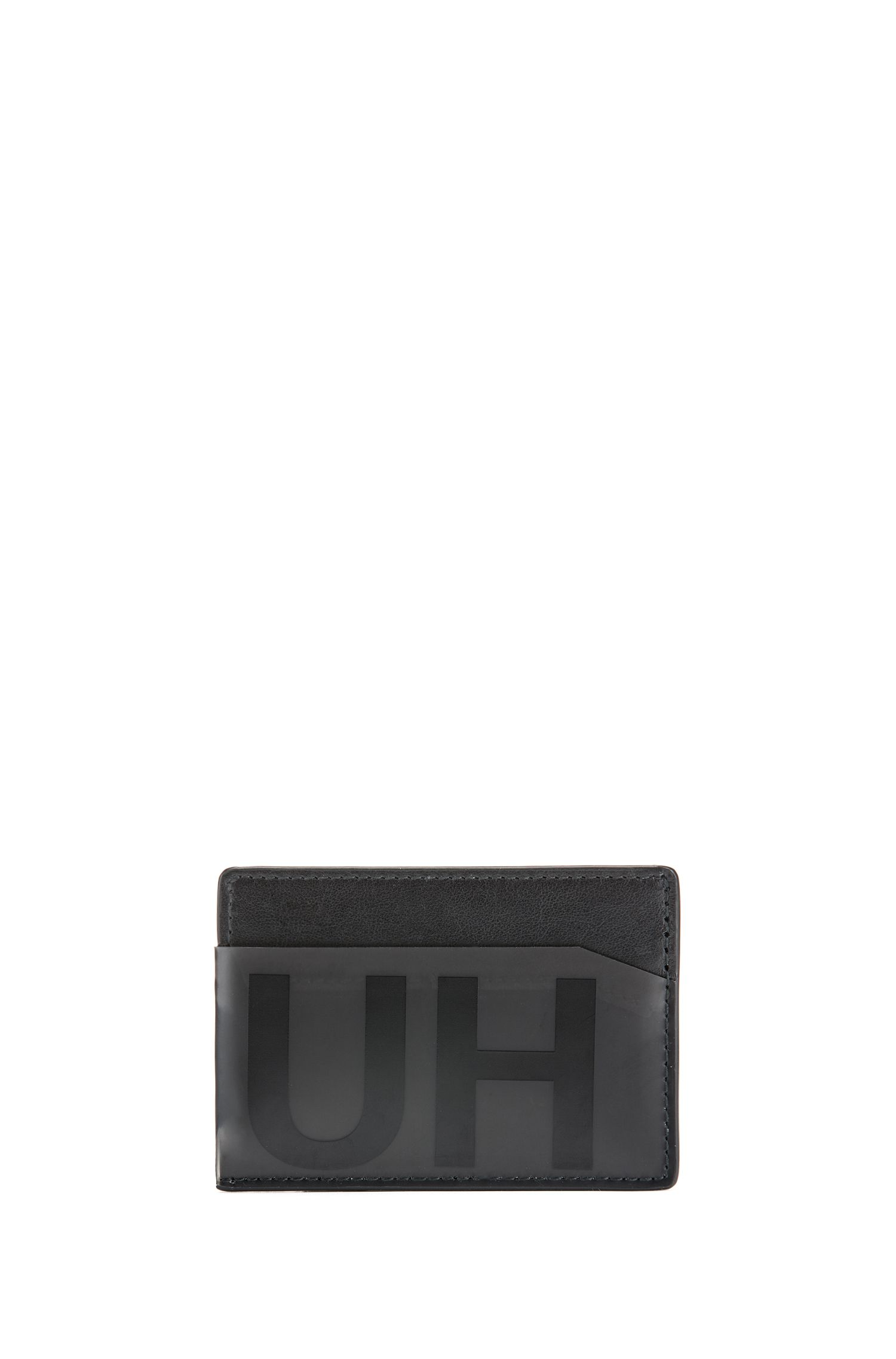 Reversed-logo card holder in leather with smoked trim, Black