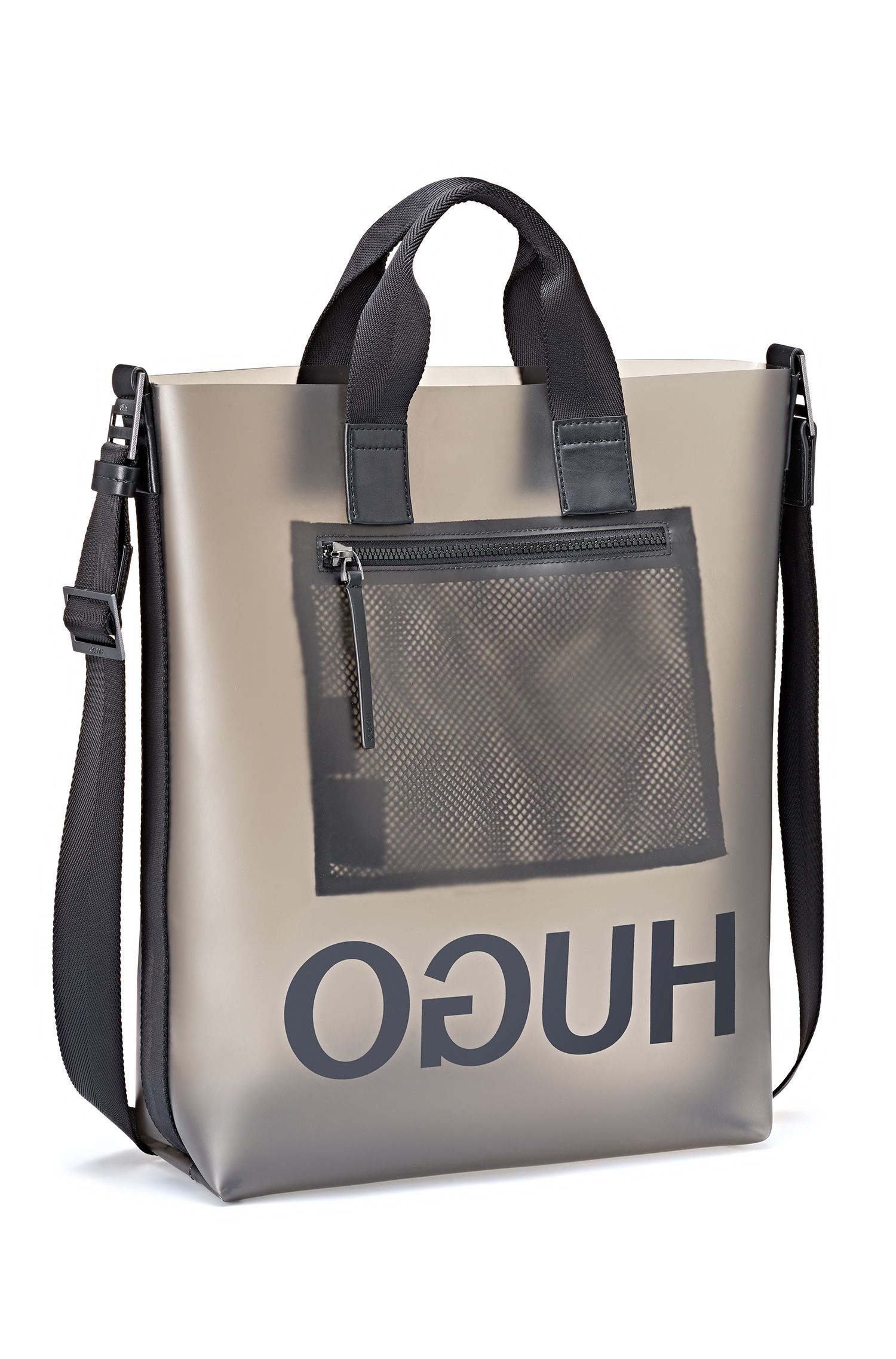 Reversed-logo tote in a smoked-effect semi-transparent material, Transparent