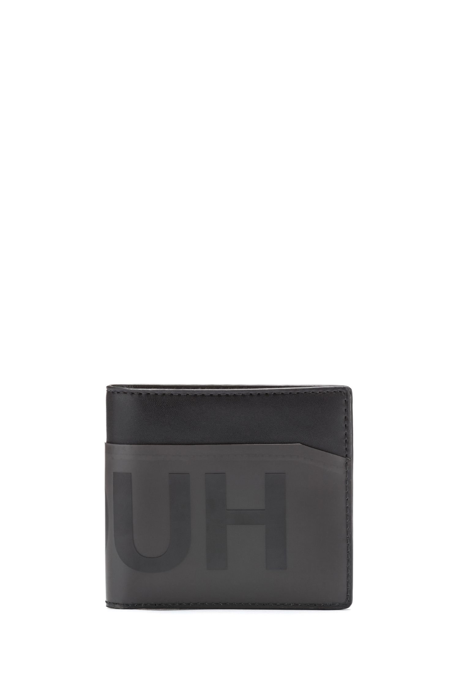 Billfold wallet with smoked-effect logo panel, Black