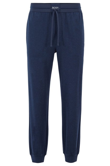 Cuffed loungewear pants in interlock fabric with silk, Blue
