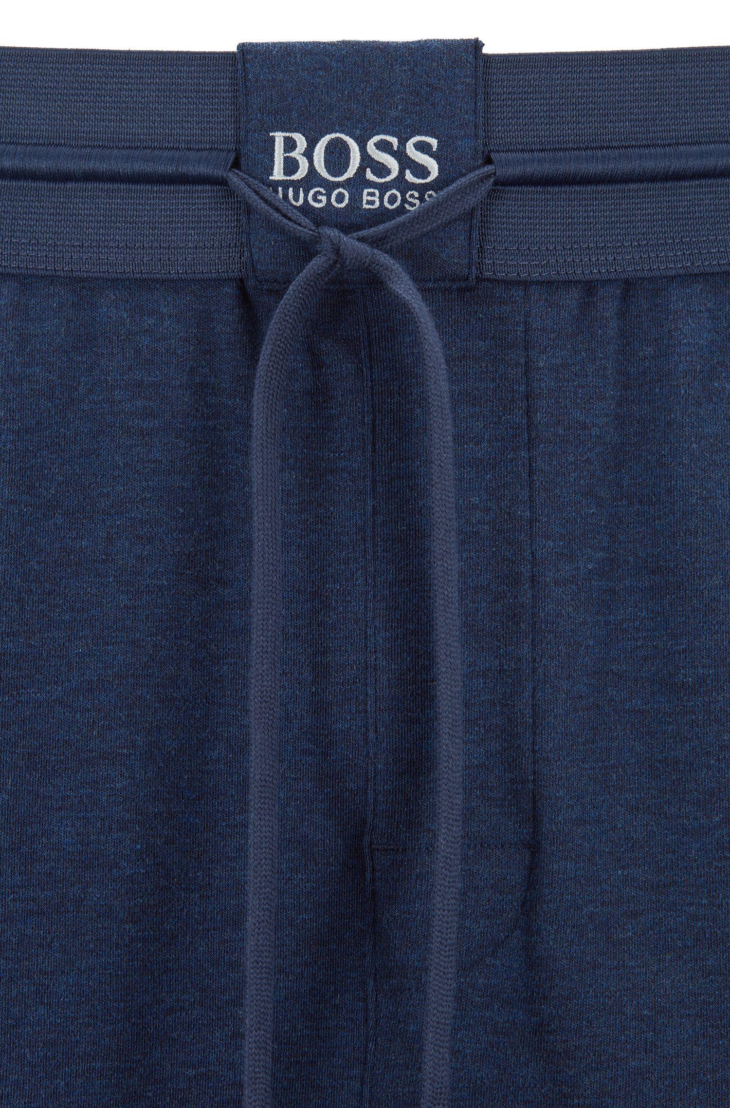 Cuffed loungewear pants in interlock fabric with silk, Blue