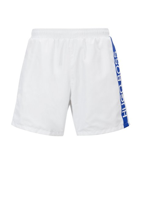 Medium-length swim shorts with heat-sealed logo print, Natural