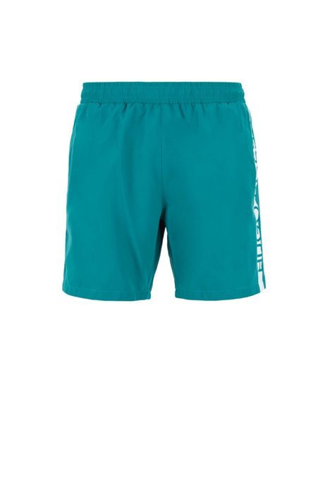 Medium-length swim shorts with heat-sealed logo print, Dark Green