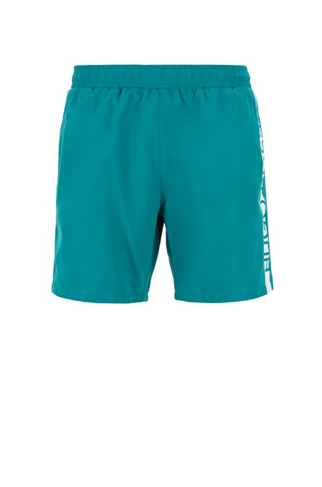 Medium-length swim shorts with heat-sealed logo print, Dark Green