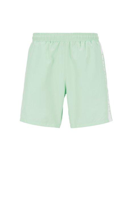 Medium-length swim shorts with heat-sealed logo print, Light Green